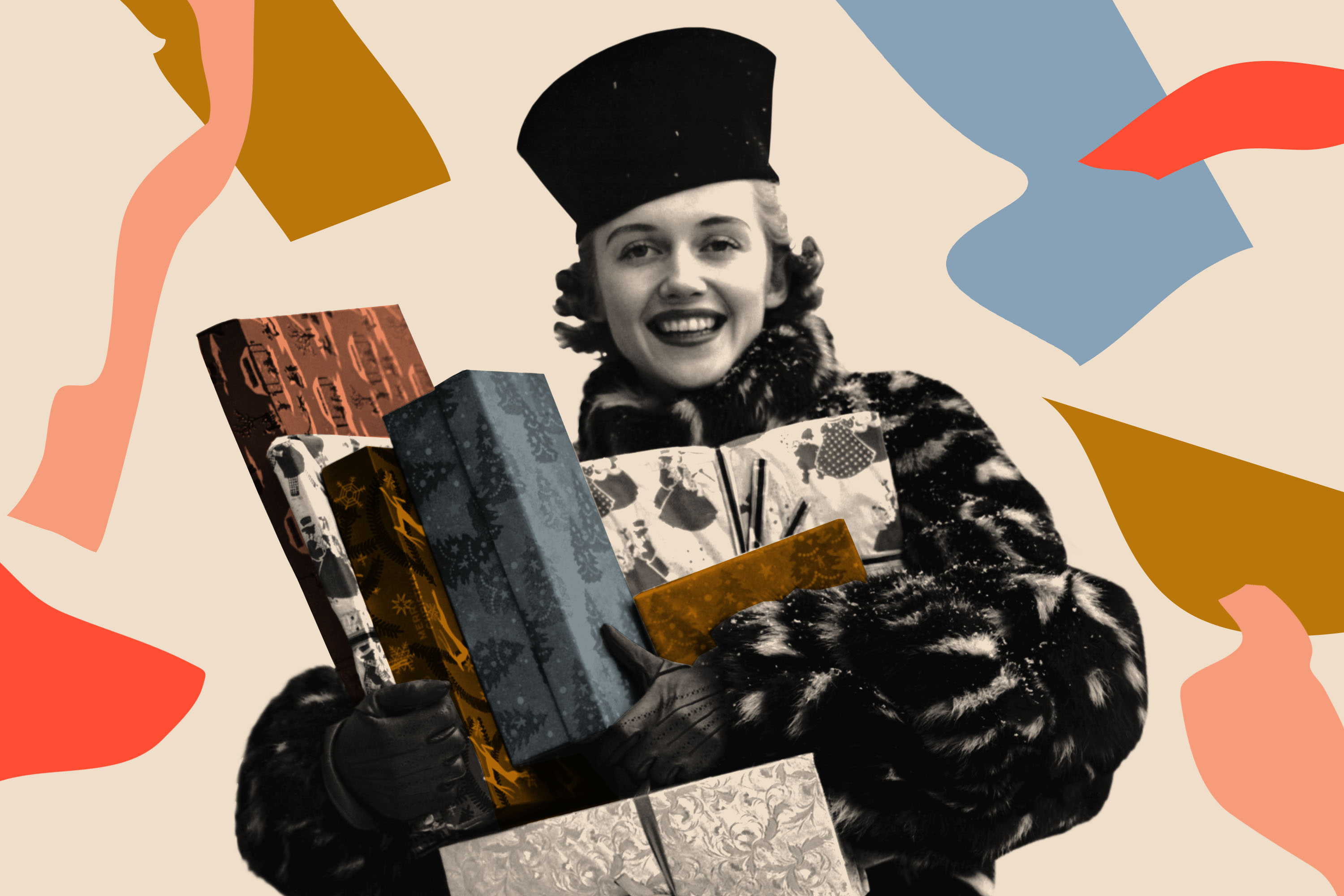 A 1940's woman with a short bob in a fur coat holds 7 gifts wrapped in holiday paper. Photo collage.