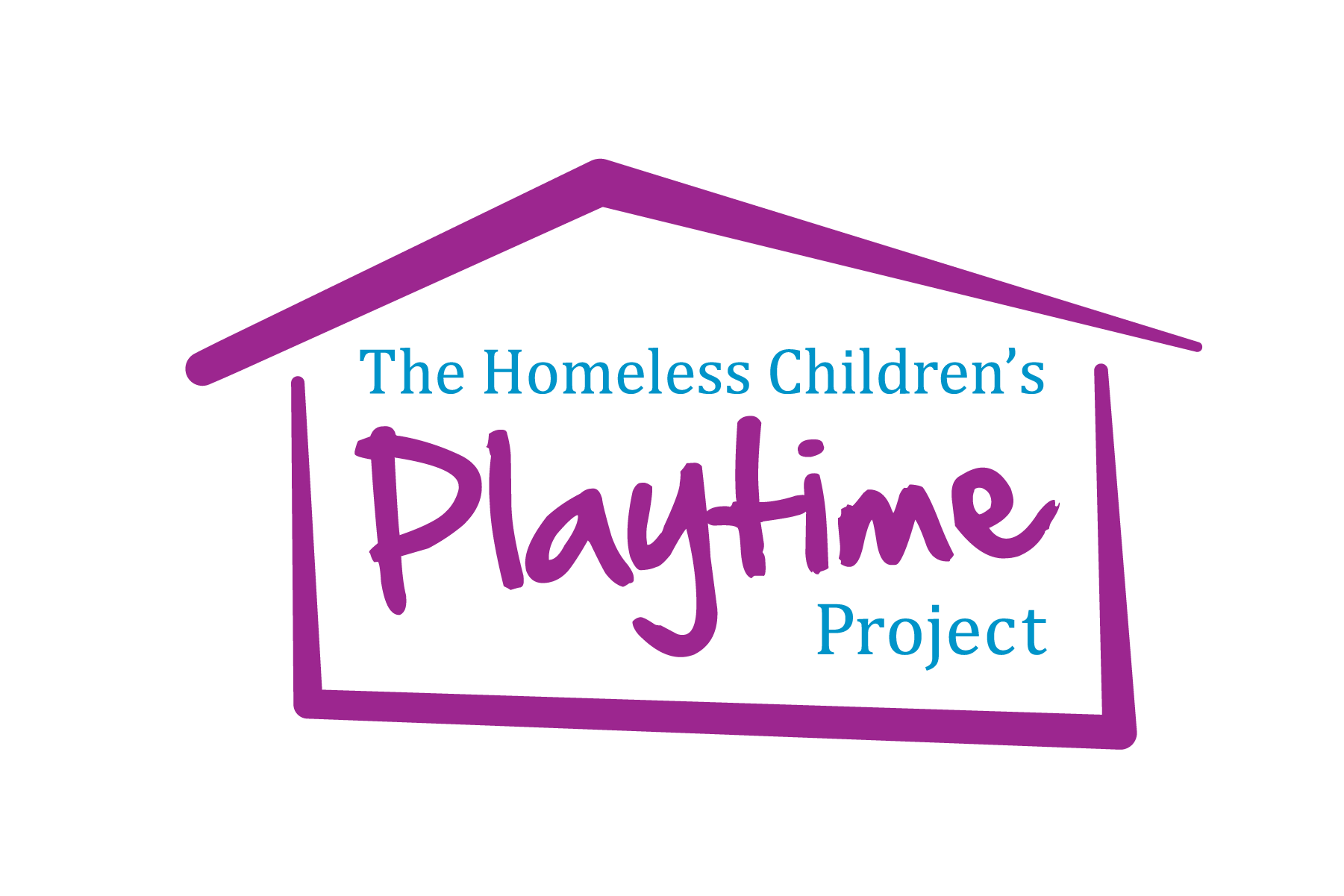A logo for a nonprofit organization focused on homeless children. The logo depicts the shape of a home.