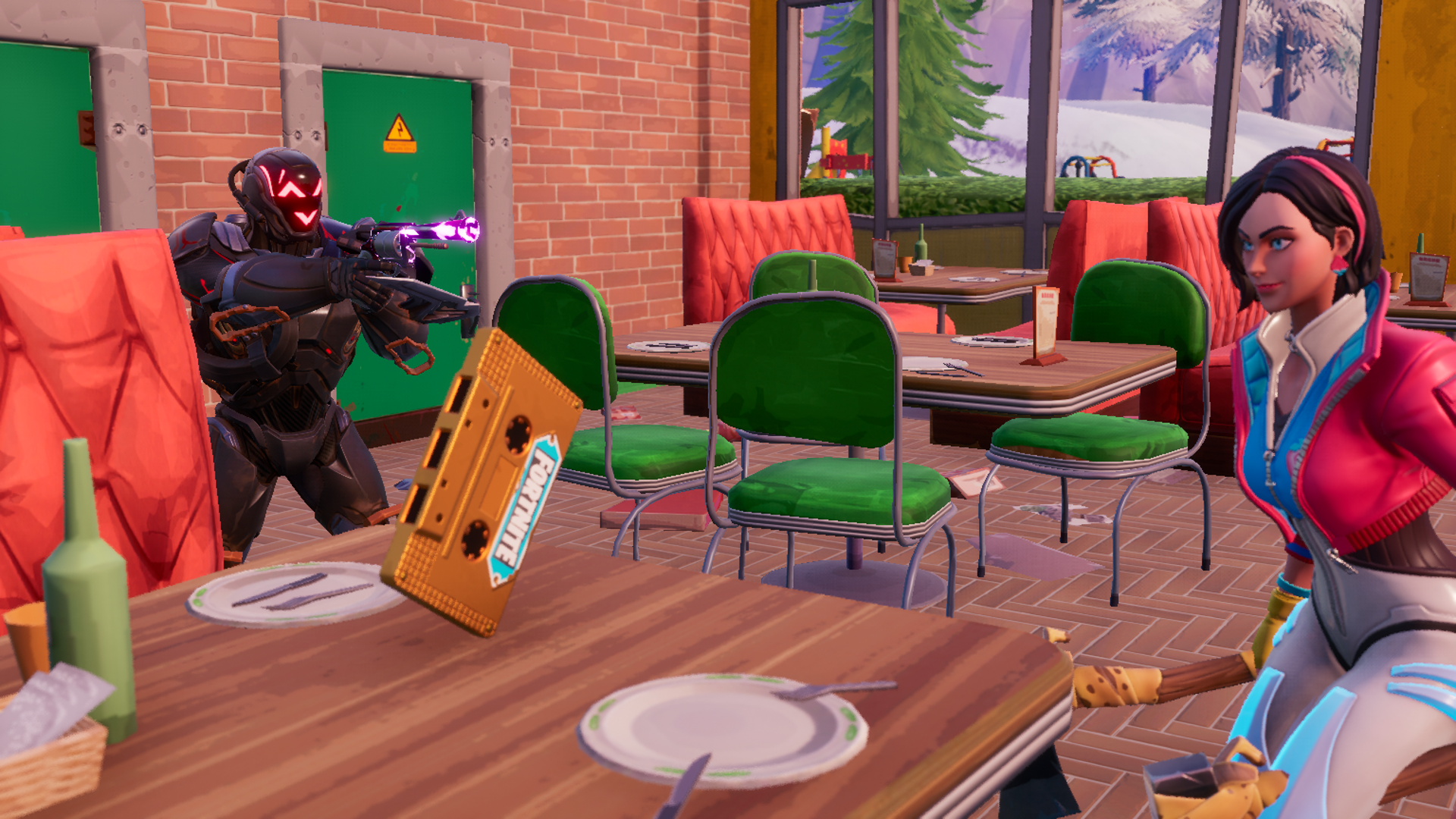Two players stand in Fortnite's Greasy Grove diner attempting to get the recording on the table.