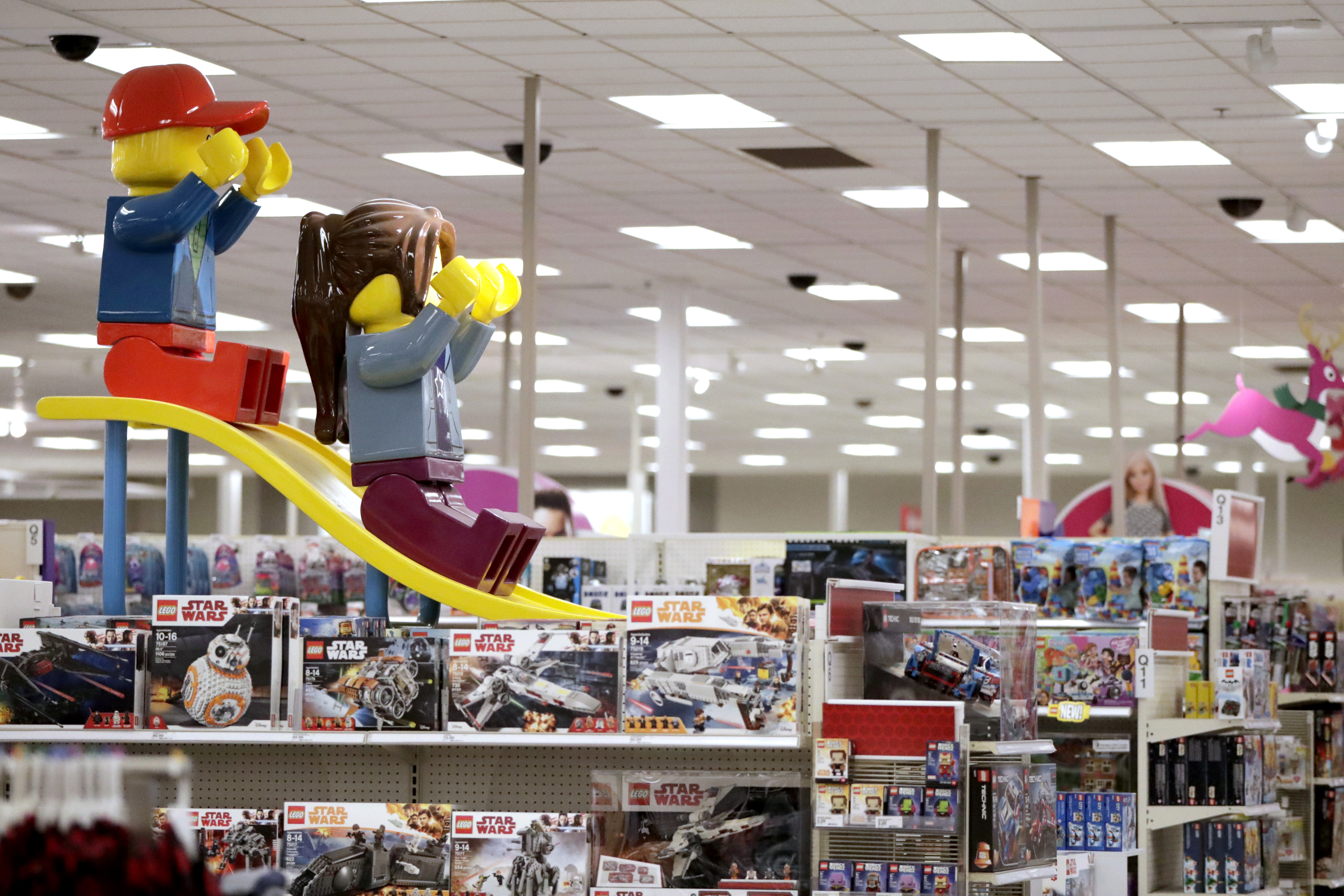 This 2018 photo shows a toy display inside a Target store in Bridgewater, New Jersey.