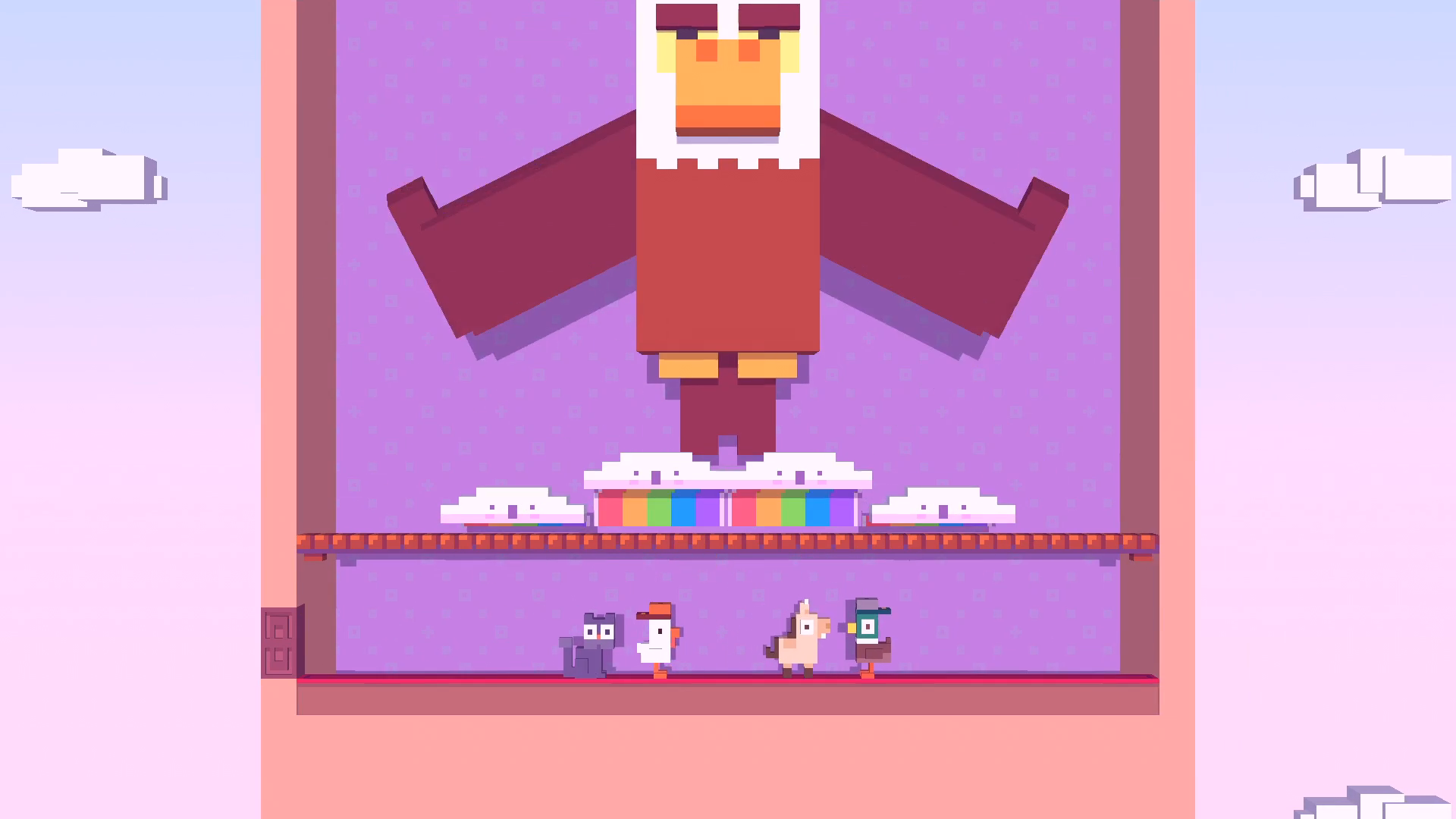 Crossy Road Castle screenshot featuring the eagle from the original Crossy Road standing over some critters