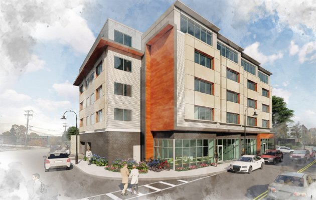 Rendering of a five-story apartment building
