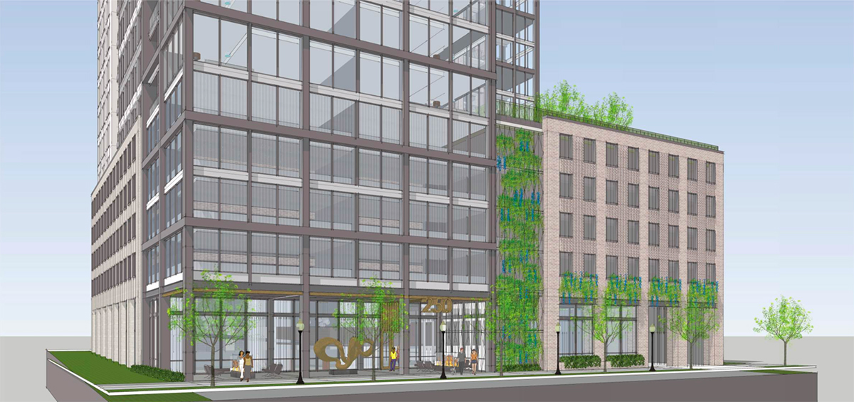 A rendering of the residential project's ground floor, with street-level retail and green accents.