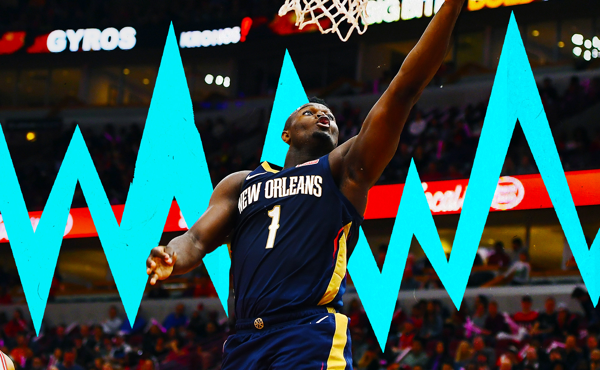 Zion Williamson soars for a layup in NBA preseason.