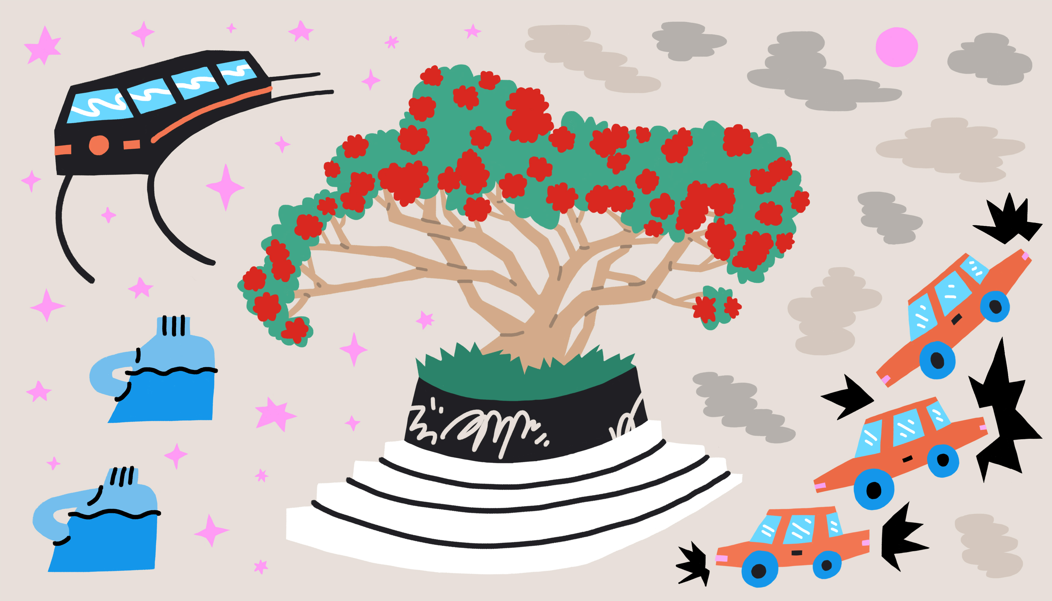 A blooming coral tree sits front and center in a graffiti-covered, round, concrete planter. There are vignettes in each corner, a light rail train, smog, jugs of water and a hectic traffic scene. Illustration.