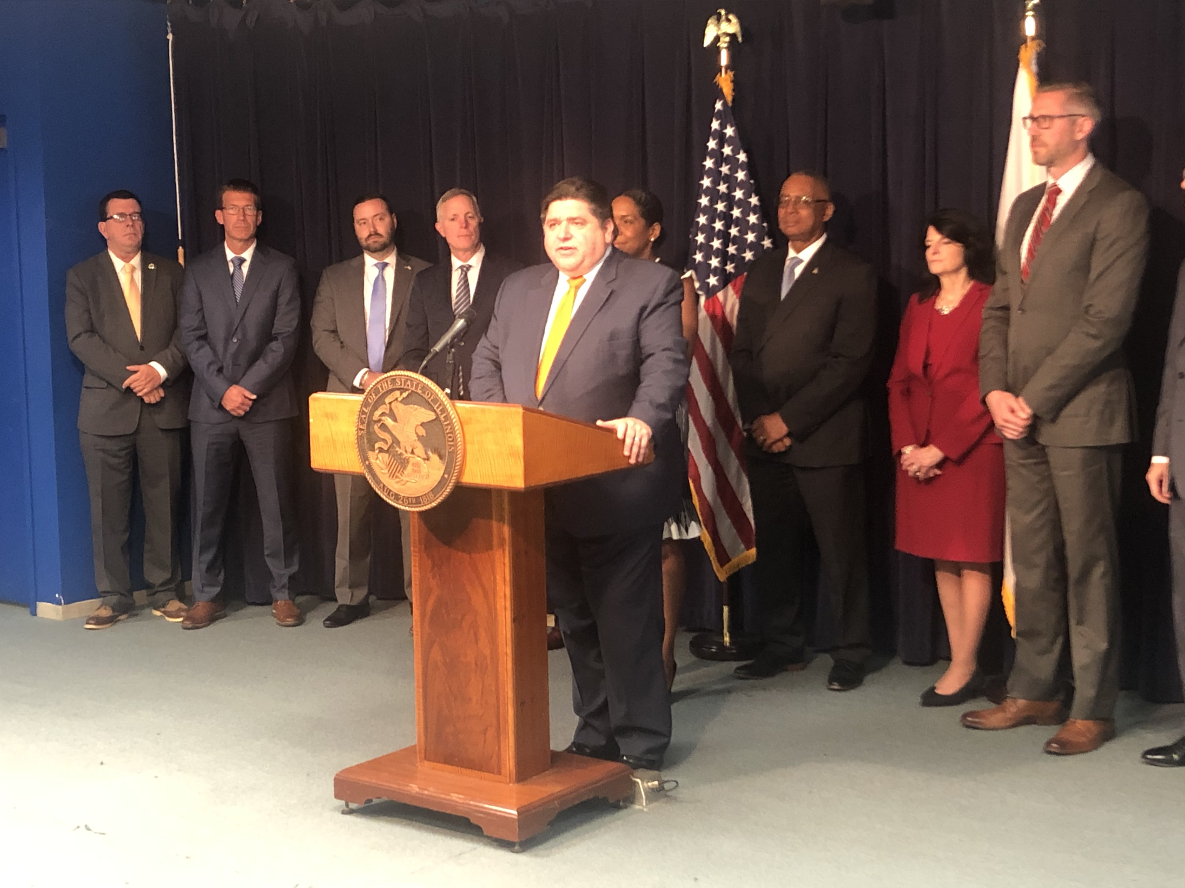 Gov. J.B. Pritzker Thursday discussing the pension consolidation task force report that recommends combining roughly 650 suburban and downstate police and fire pension funds.