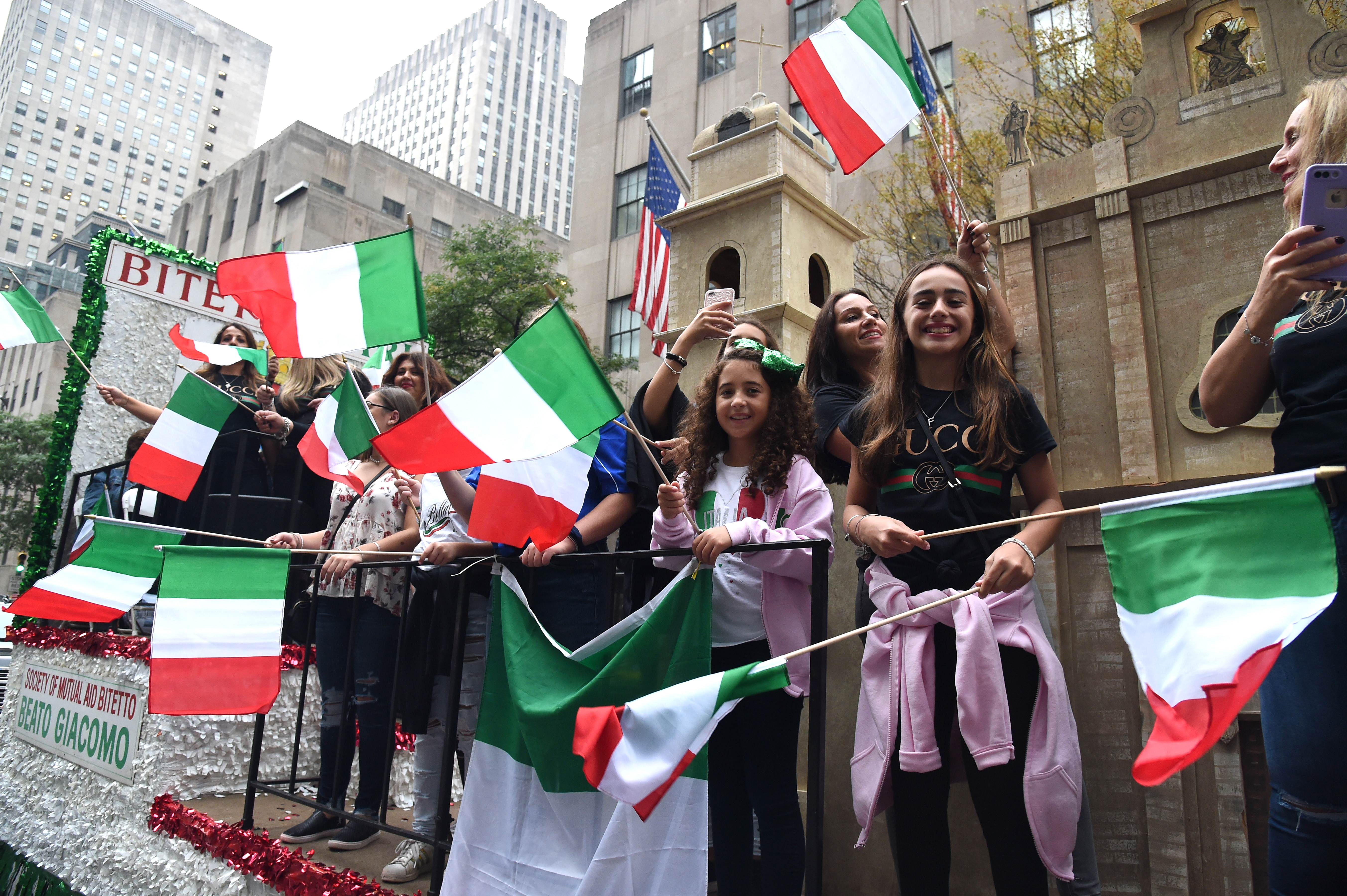 Columbus Day Parade Winds Down New York's Fifth Avenue