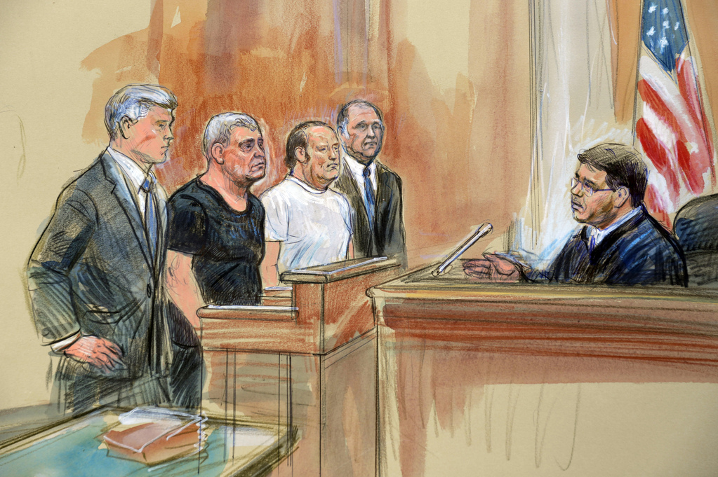 Courtroom sketch depicting from left, attorney Kevin Downing, Lev Parnas, Igor Fruman, attorney Thomas Zehnle and U.S. Judge Michael Nachmanoff,