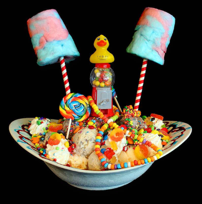 huge ice cream sundae piled with candy