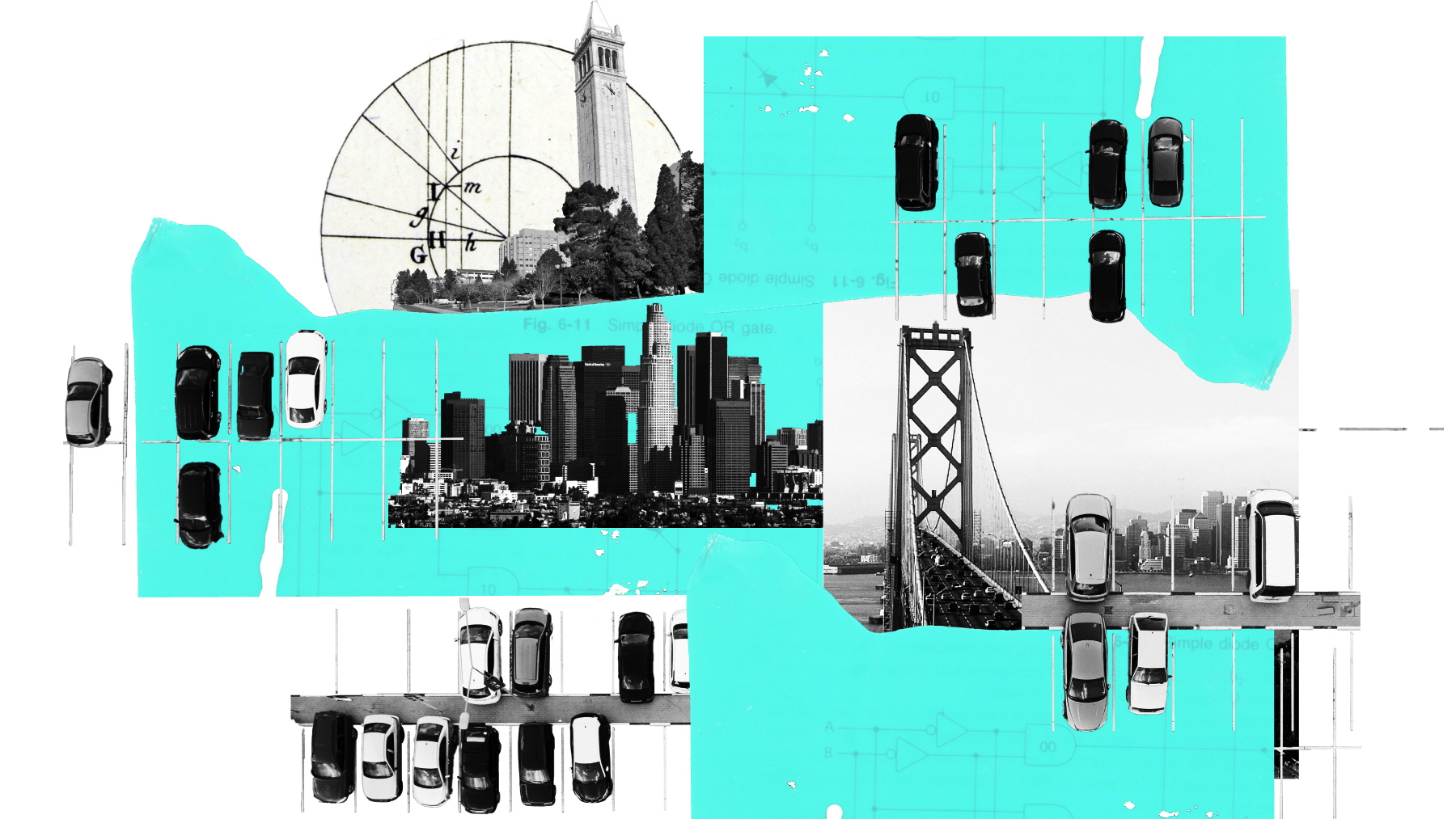 An illustration of parts of homes spliced with photos of landmarks.
