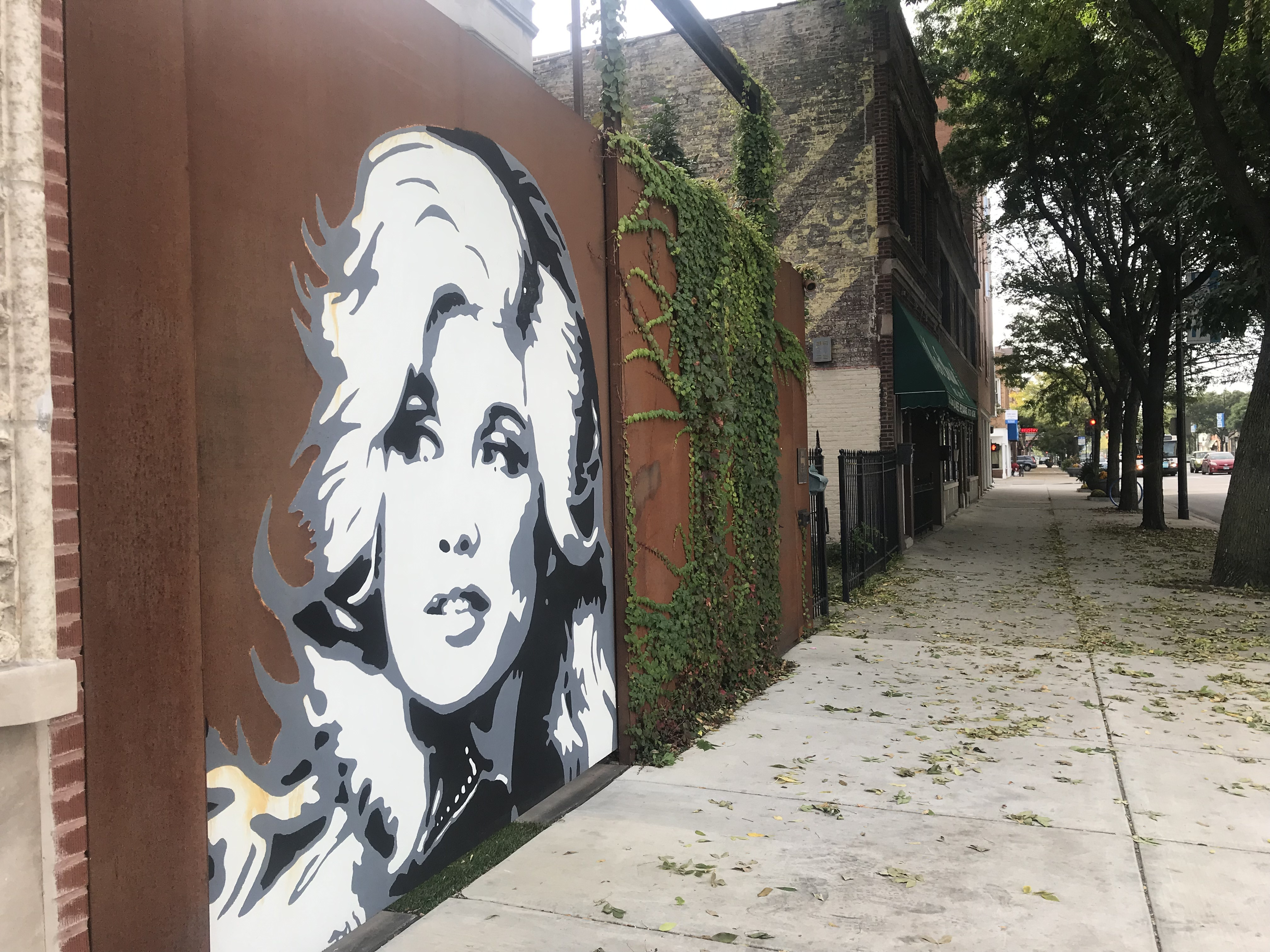 A mural of country music icon Dolly Parton adorns a gate in Edgewater.