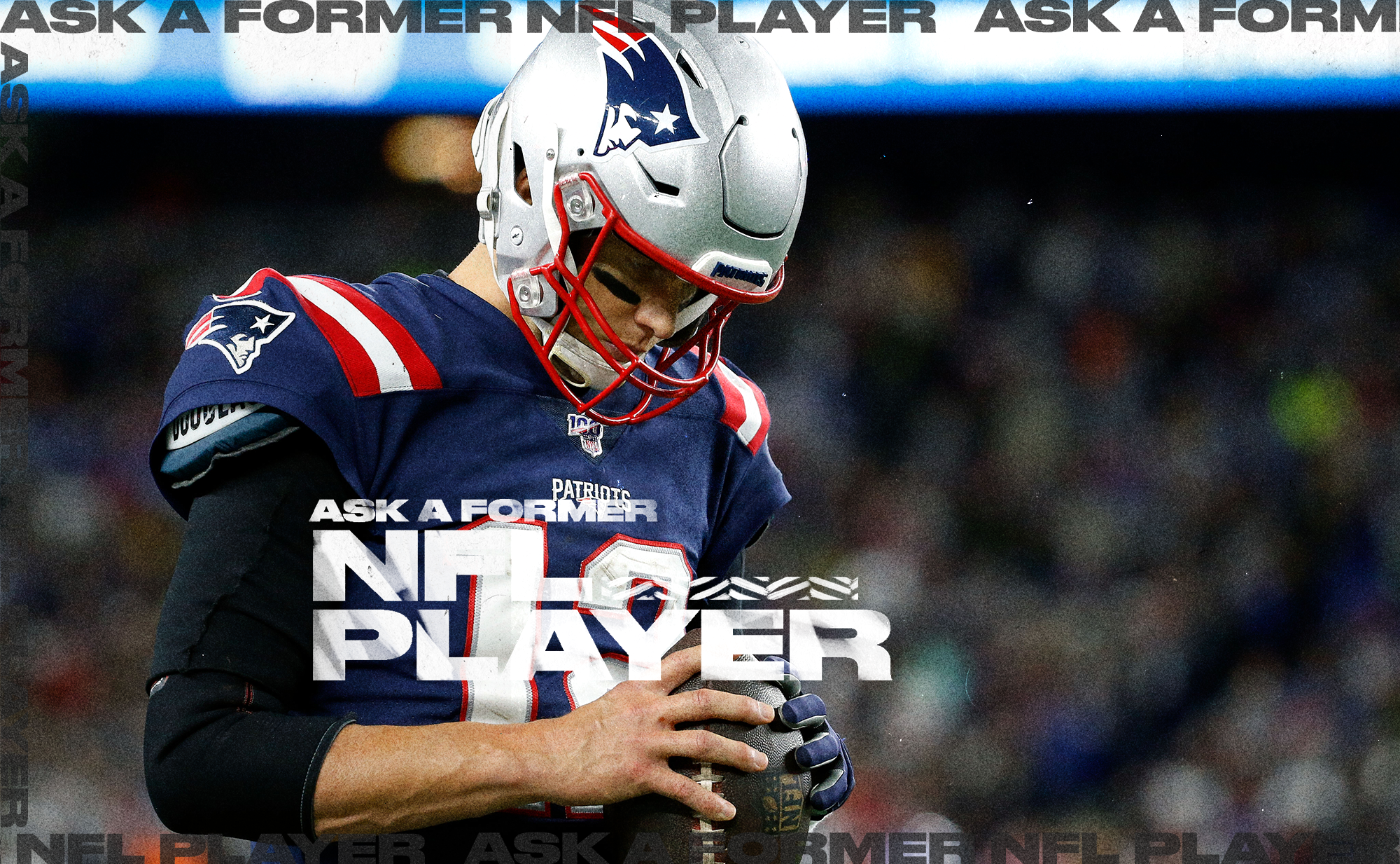 Patriots QB Tom Brady bows his head while gripping a football with both hands