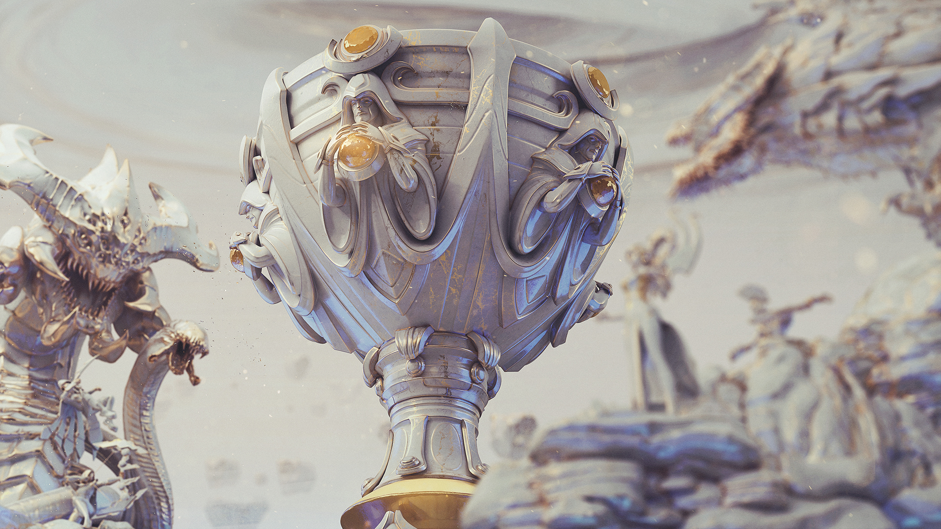 The League of Legends Summoner's Cup sits, encased in marble, surrounded by Baron Nashor and several champions.