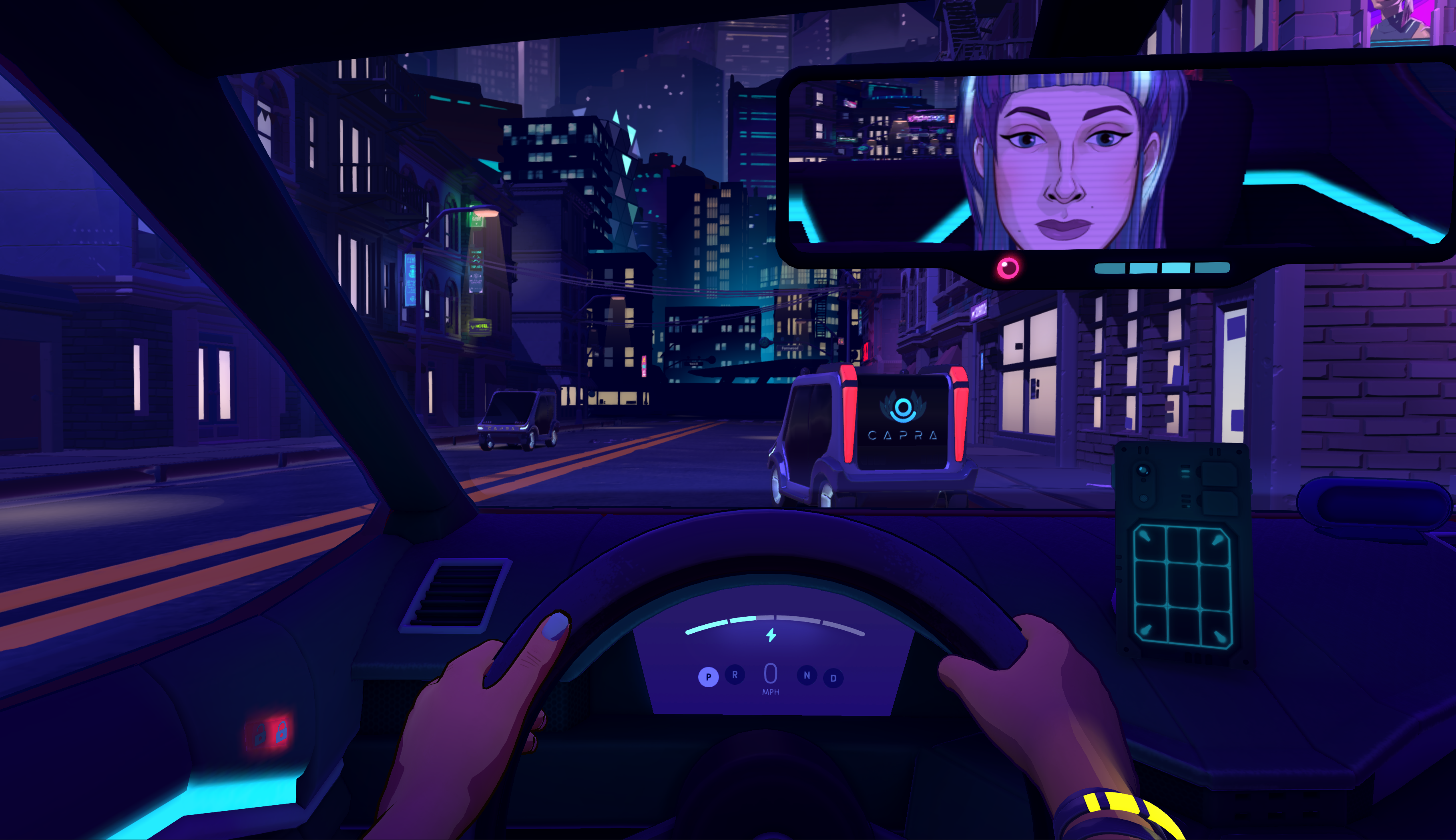 The protagonist drives a car while a friend is visible in the rearview mirror.