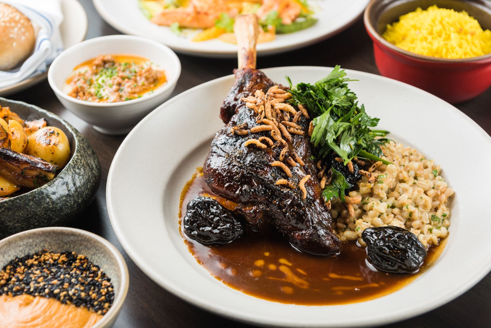 Braised lamb shank and sides at the newly opened Aziza