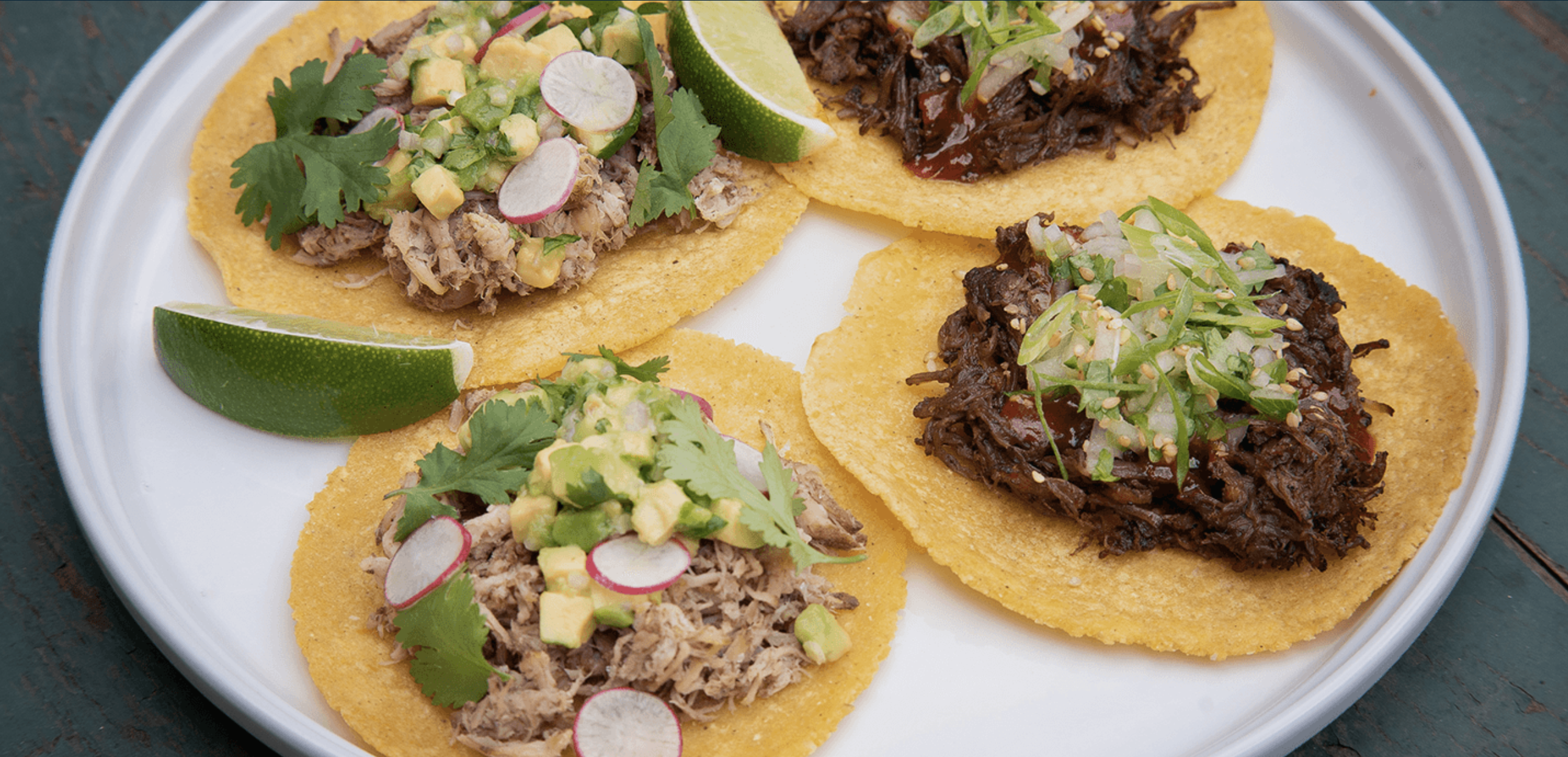 A photo of a plate containing two tacos topped with carnitas and two topped with barbacoa