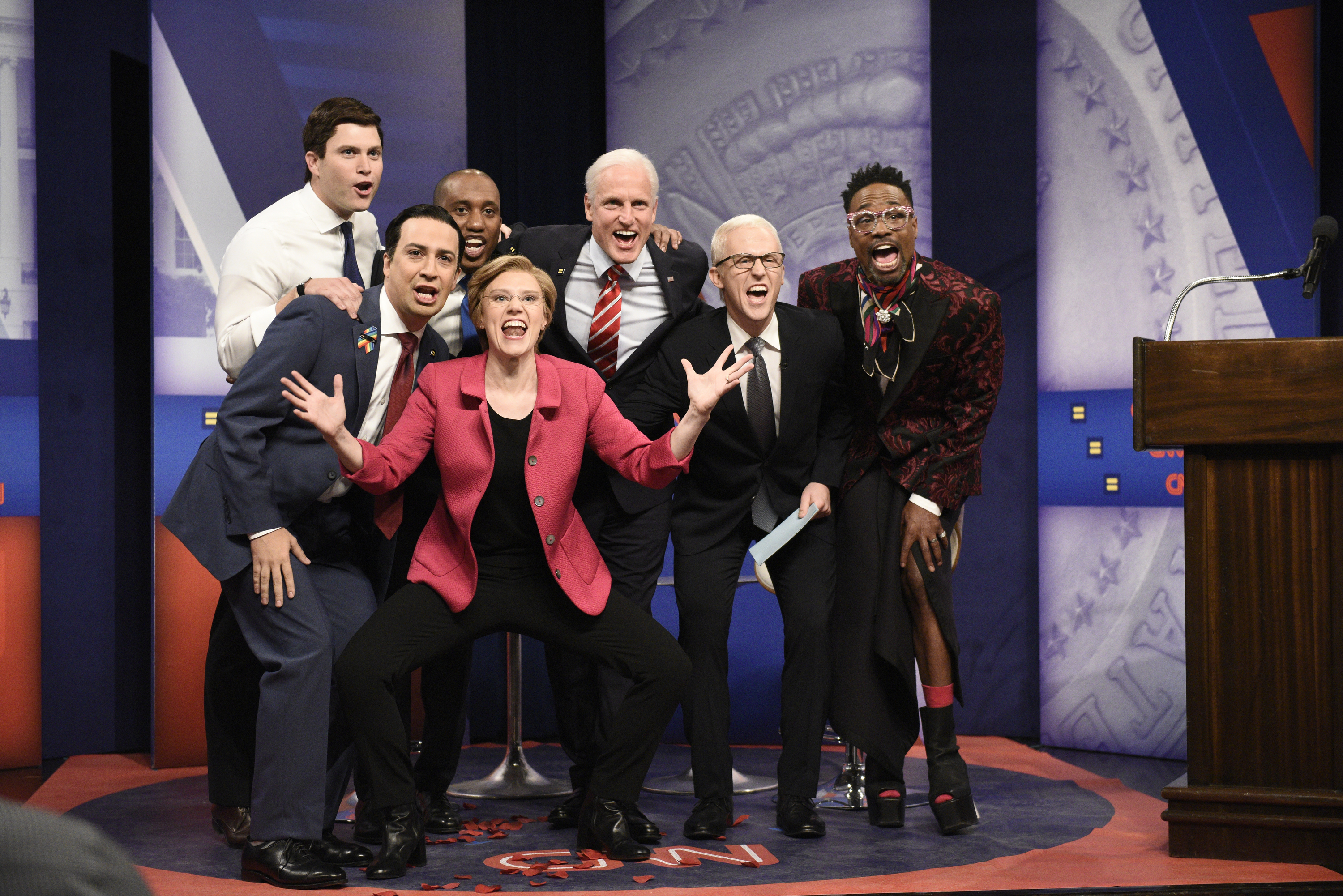 SNL cast members and guest stars Woody Harrelson and Lin-Manuel Miranda as top Democratic 2020 candidates during a CNN LGBTQ town hall.