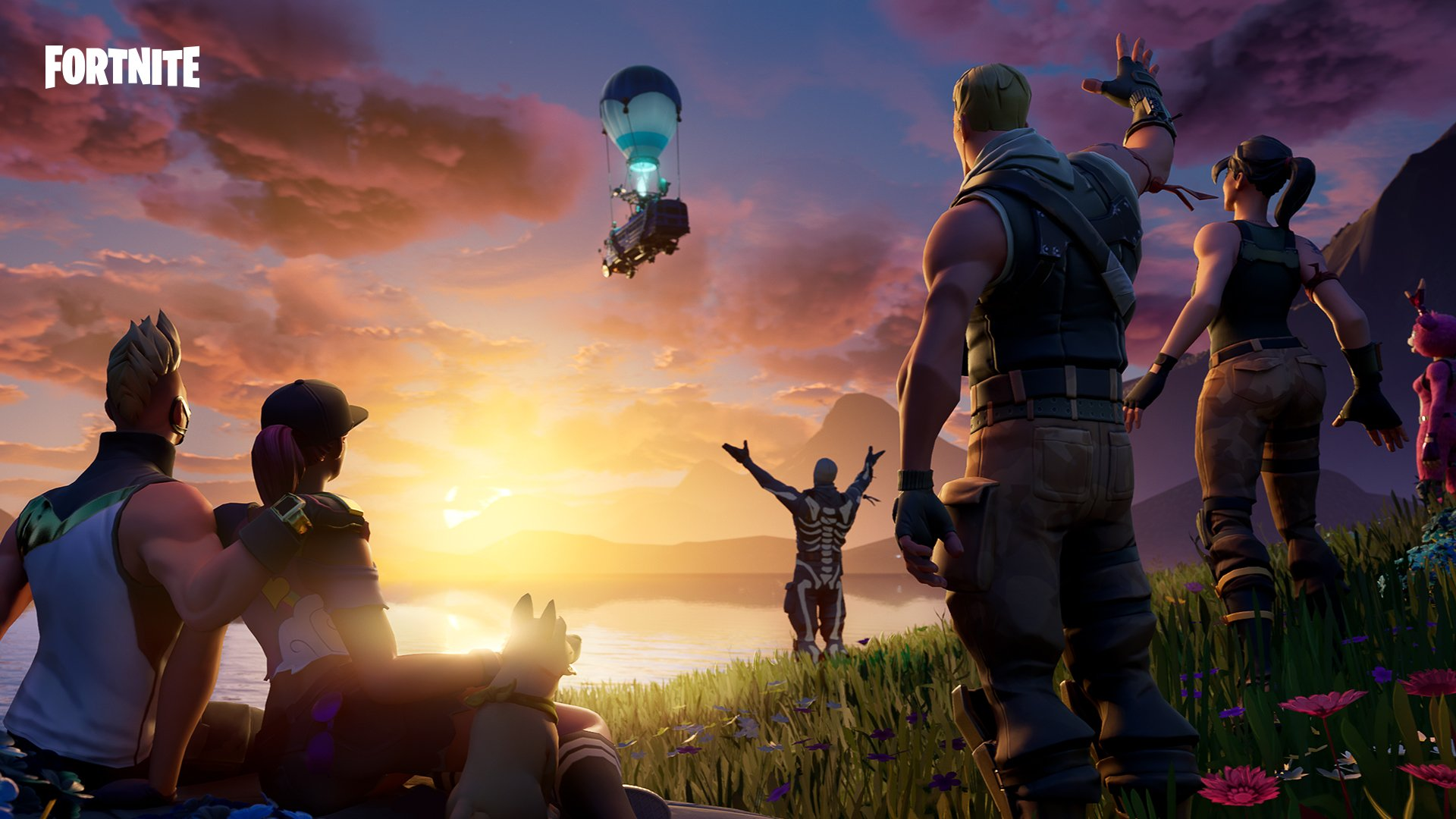 An array of Fortnite characters wave goodbye to a floating bus.