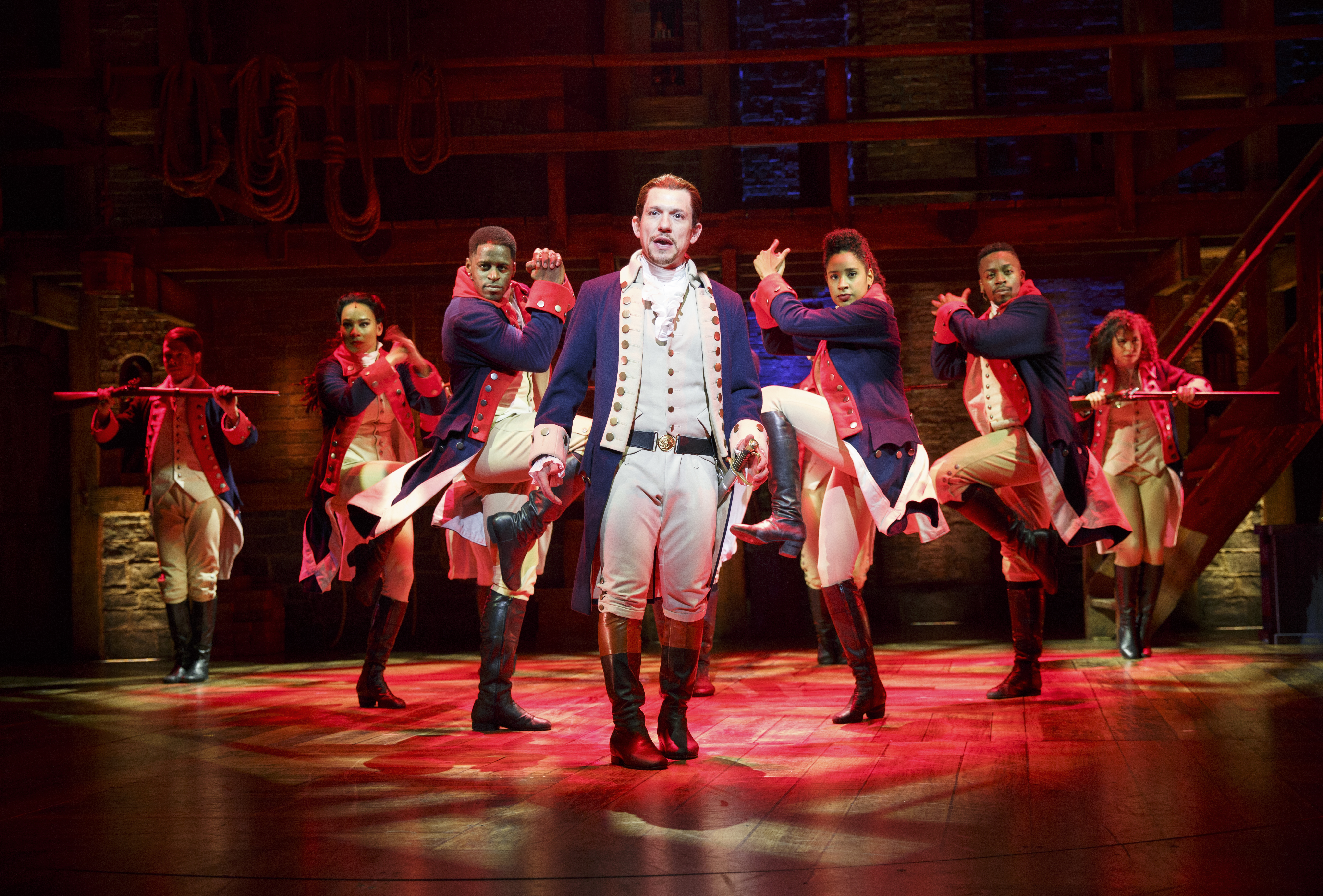 "Miguel Cervantes performs the title role in ""Hamilton"" at the CIBC Theater."