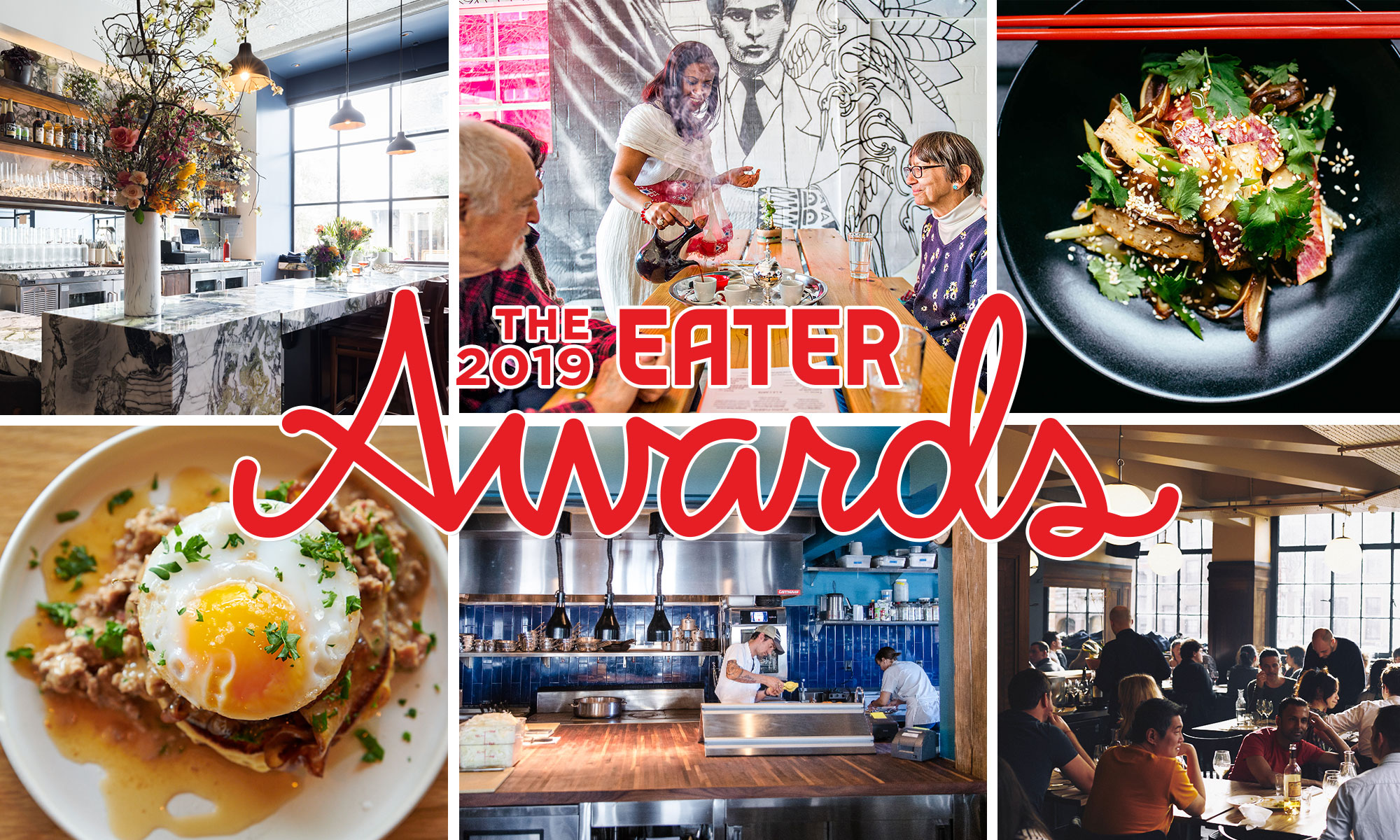 "Six different restaurant photos with a red ""The 2019 Eater Awards"" logo over the top."