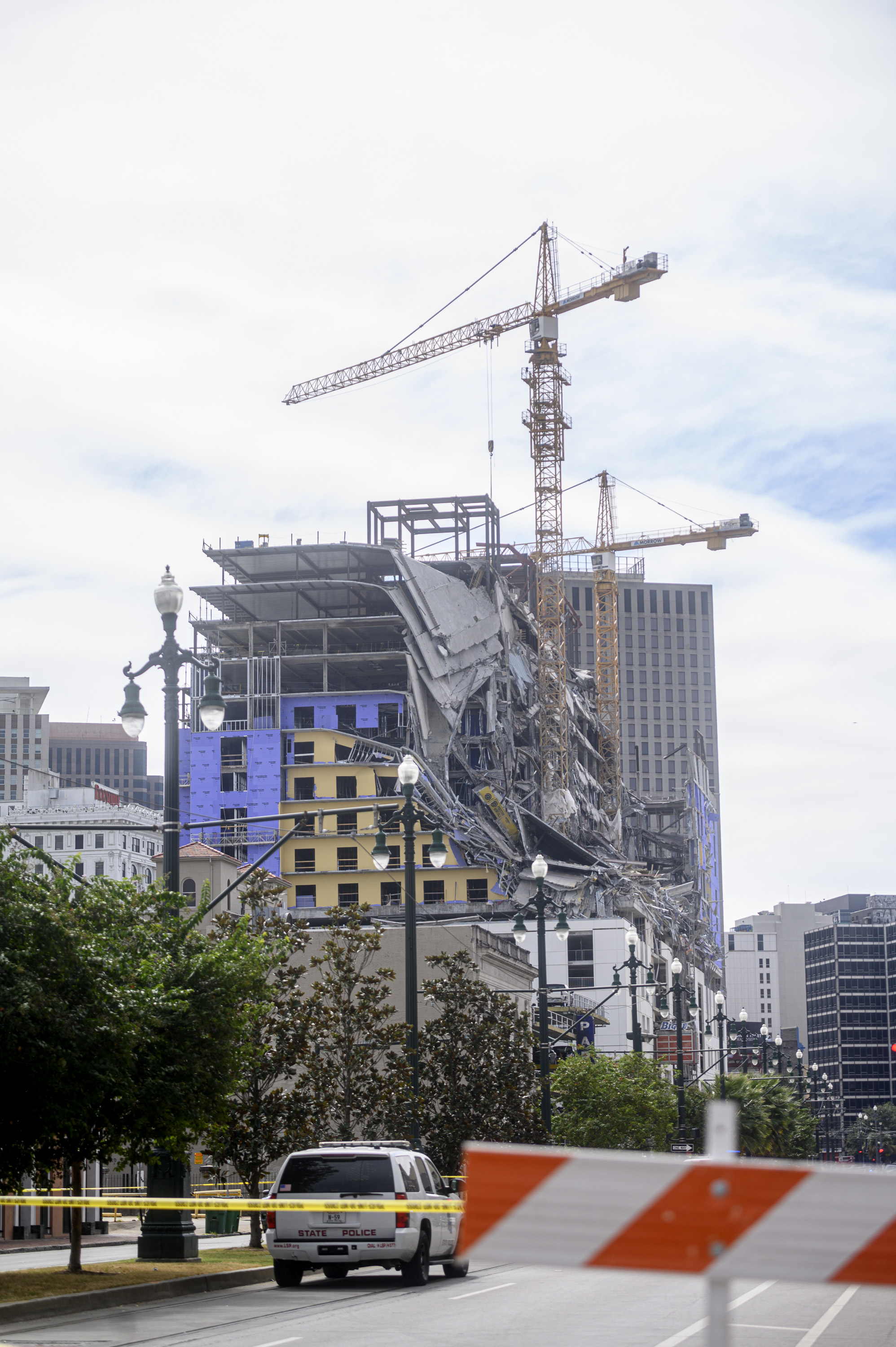 Street closures surrounding the collapsed Hard Rock Hotel remain in effect