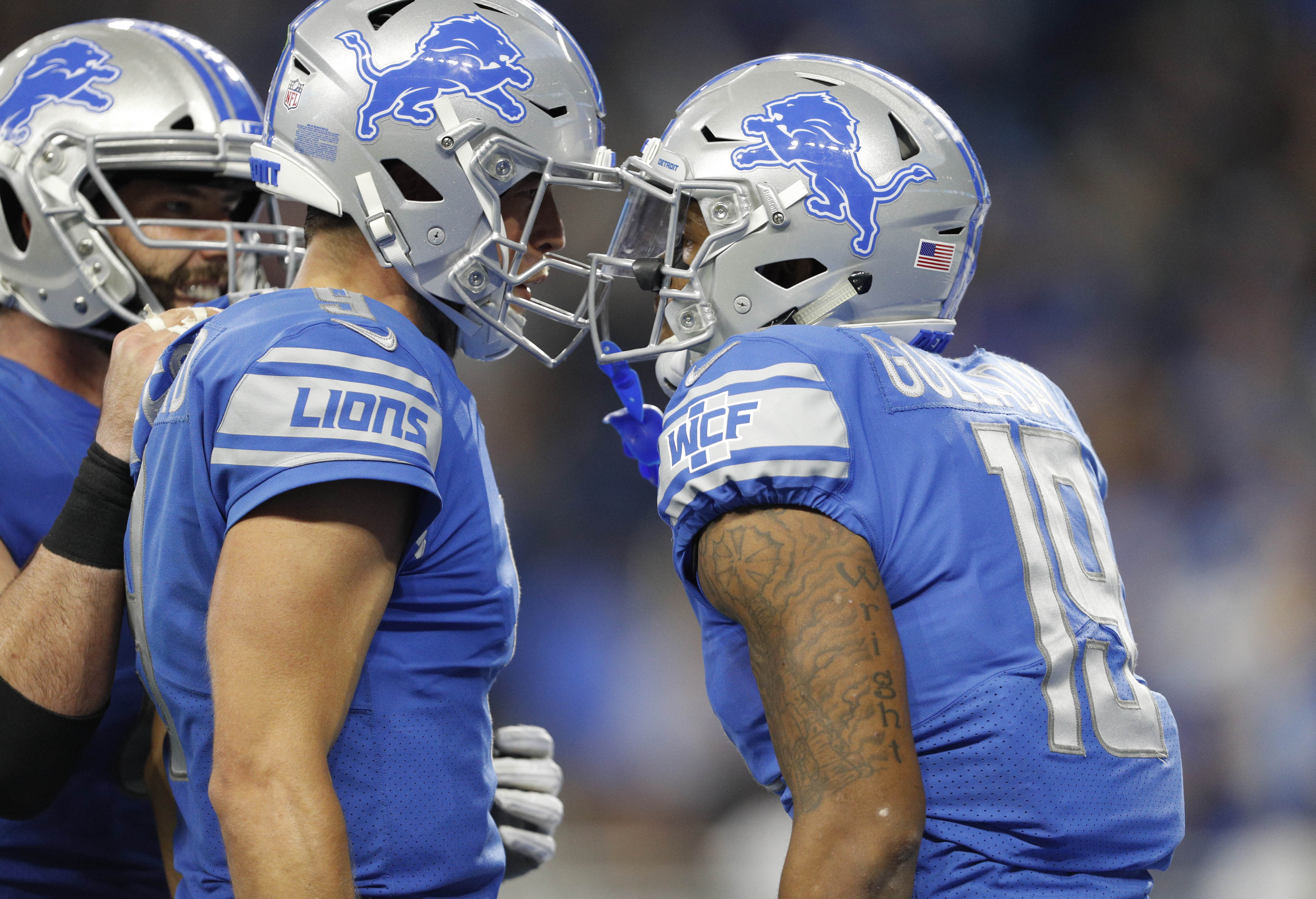 Detroit Lions wide receiver Kenny Golladay celebrates with quarterback Matthew Stafford after combining for a touchdown during the fourth quarter against the Arizona Cardinals at Ford Field.