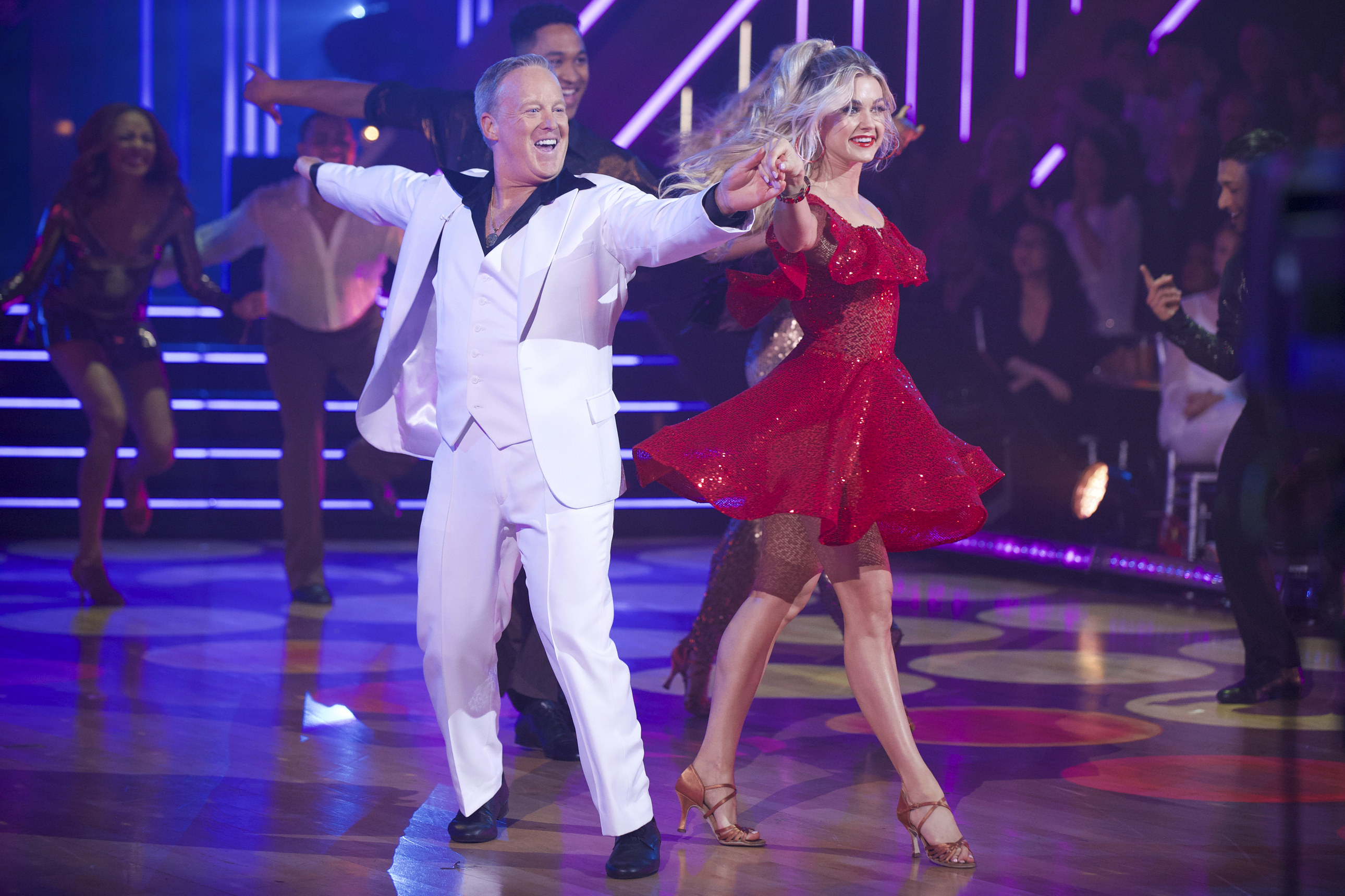 "Former White House press secretary Sean Spicer and his pro partner Lindsay Arnold compete on ""Dancing With the Stars."""