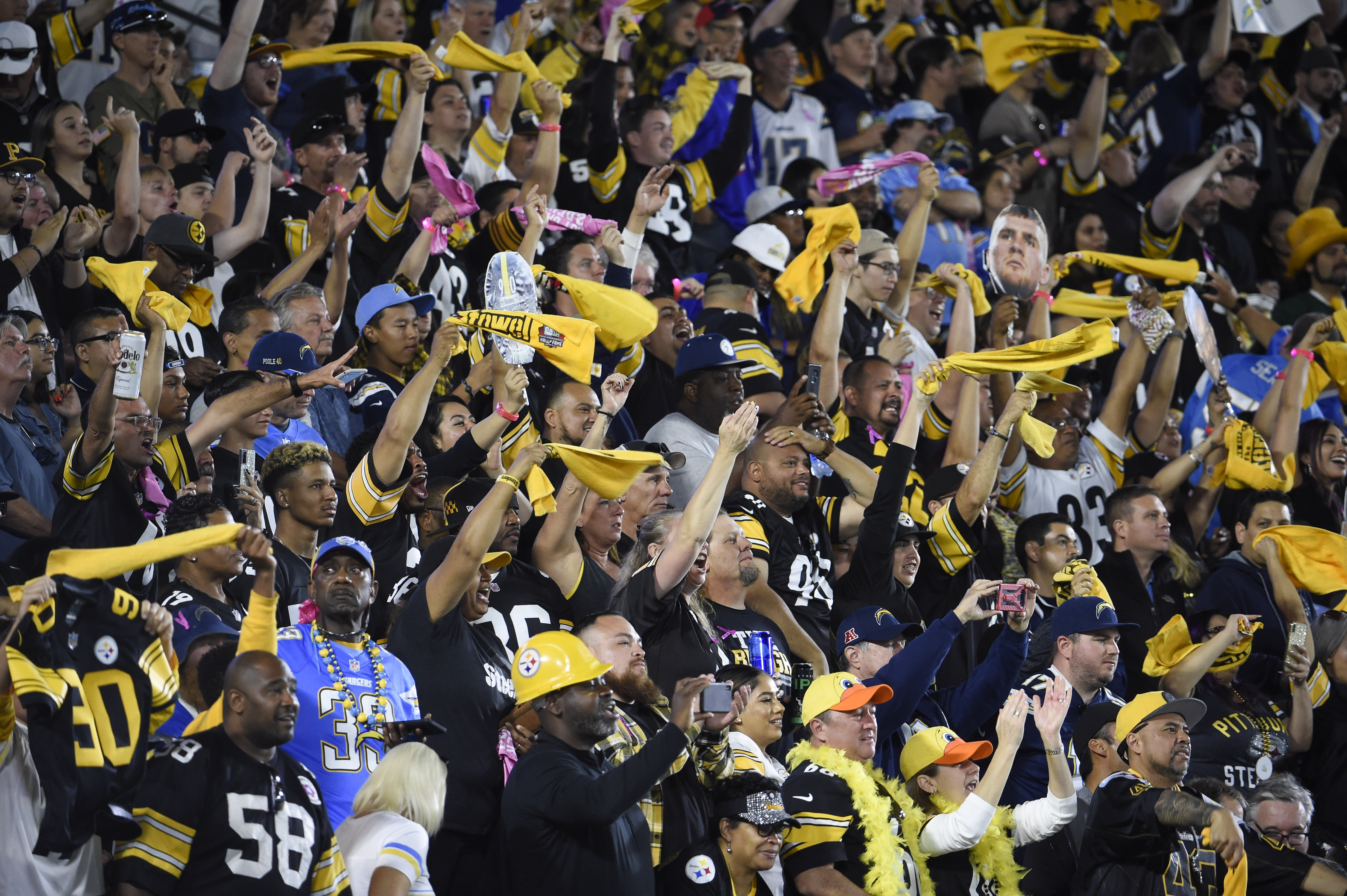 Fans cheer as the Los Angeles Chargers take on the Pittsburgh Steelers look in the first quarter at Dignity Health Sports Park October 13, 2019 in Carson, California.