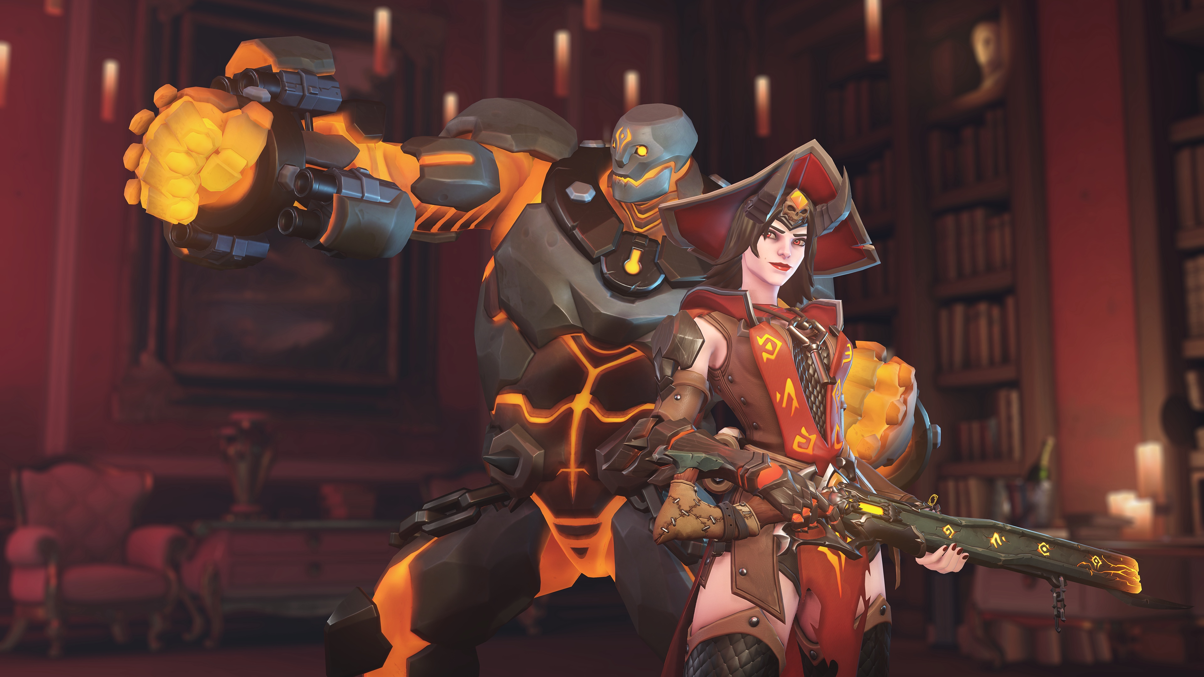 Ashe and Bob wearing Halloween themed skins in a screenshot from Overwatch