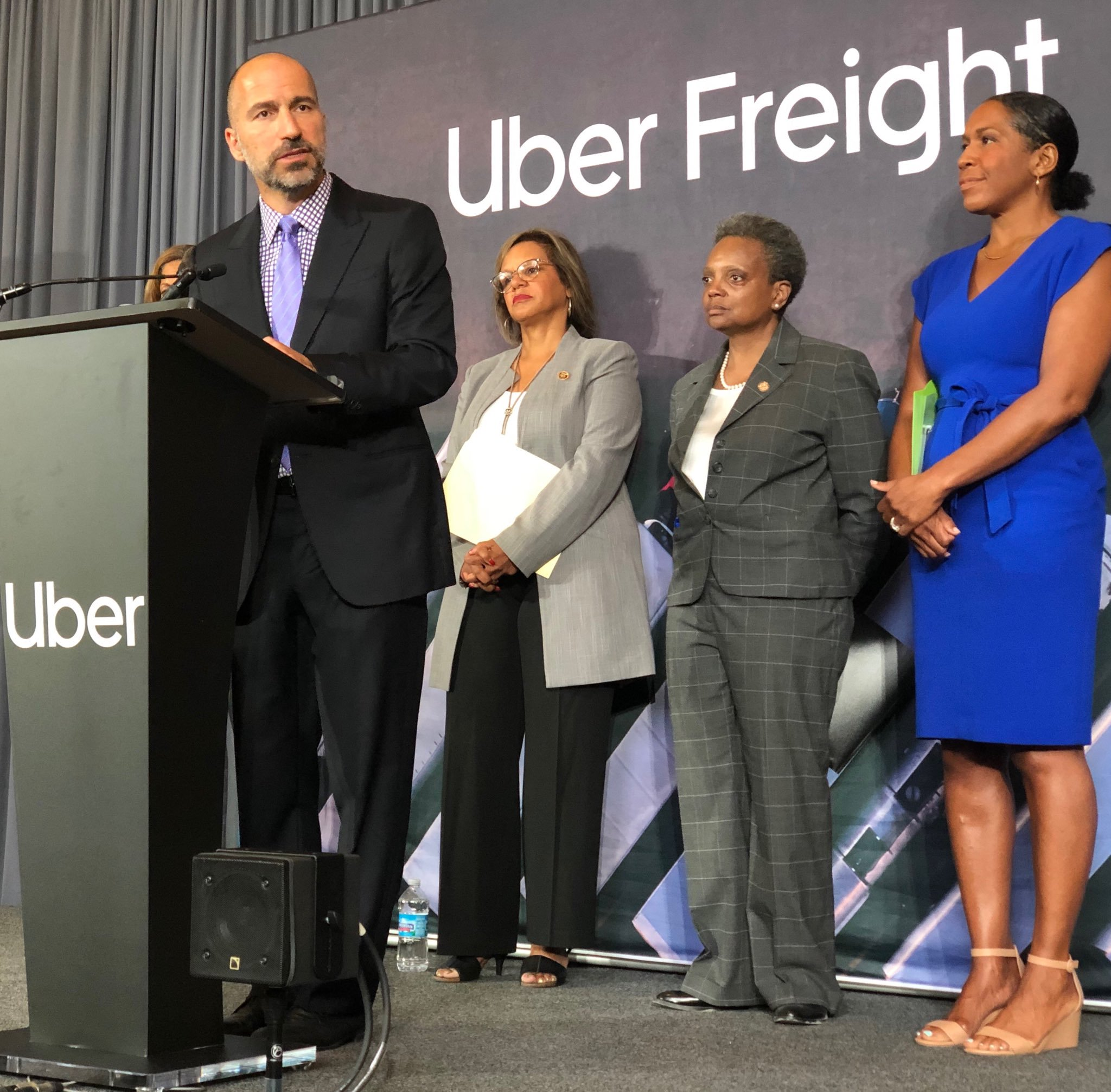 Uber CEO Dara Khosrowshahi, speaking at the Old Main Post Office.