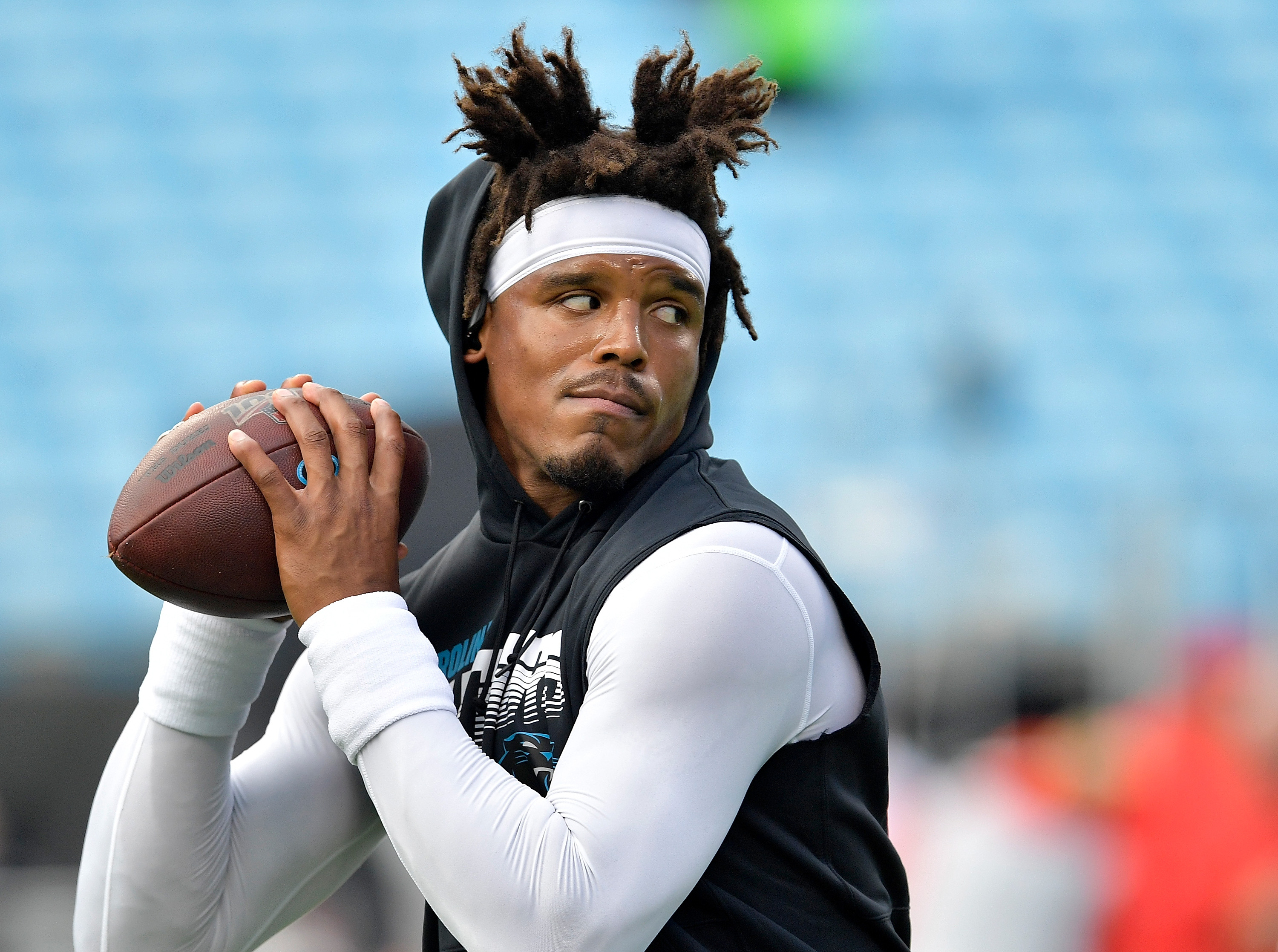 Cam Newton of the Carolina Panthers against the Tampa Bay Buccaneers during the first quarter of their game at Bank of America Stadium on September 12, 2019 in Charlotte, North Carolina.