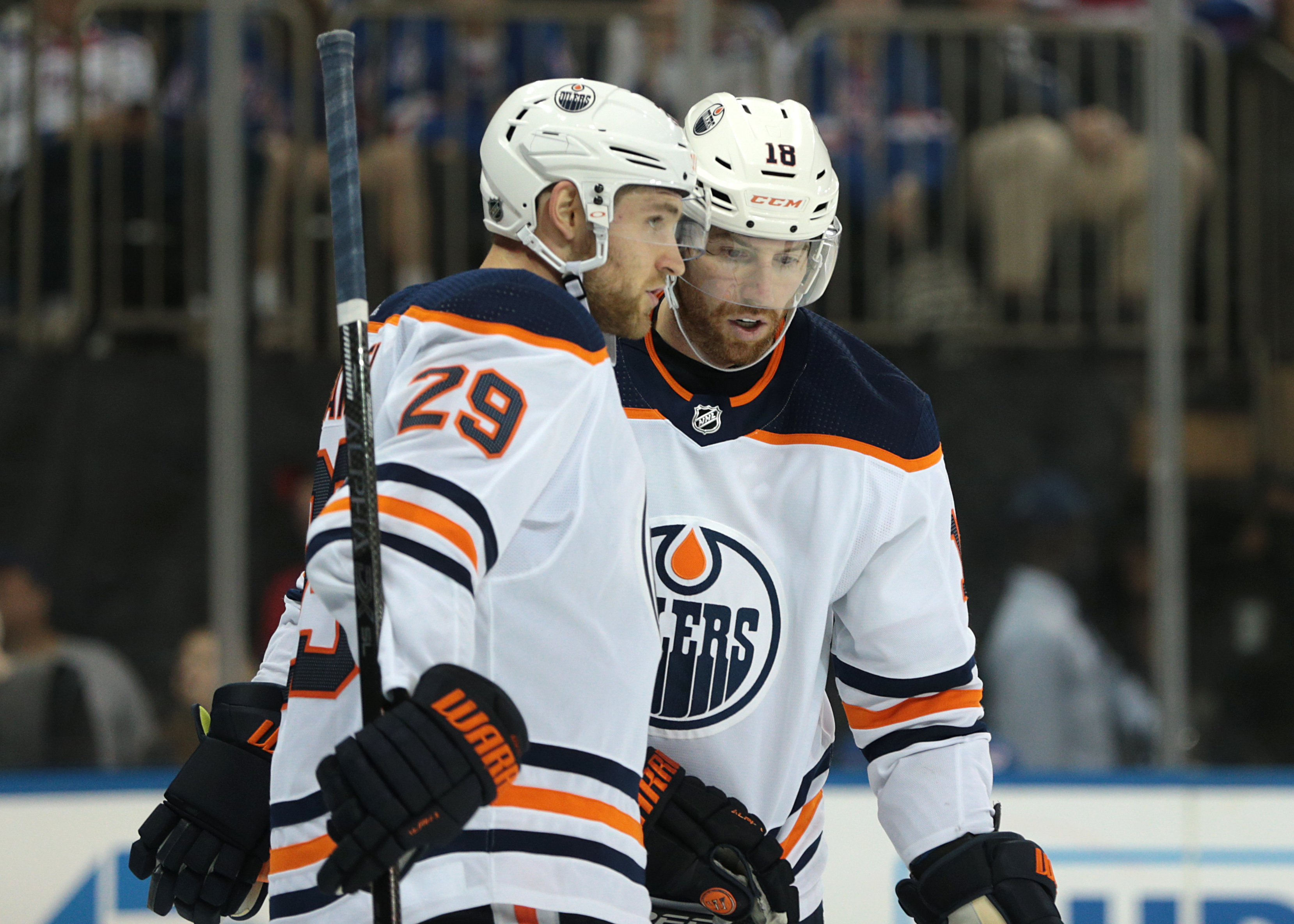 Edmonton Oilers center Leon Draisaitl (29) talks with left wing James Neal (18) during the third period against the New York Rangers at Madison Square Garden.