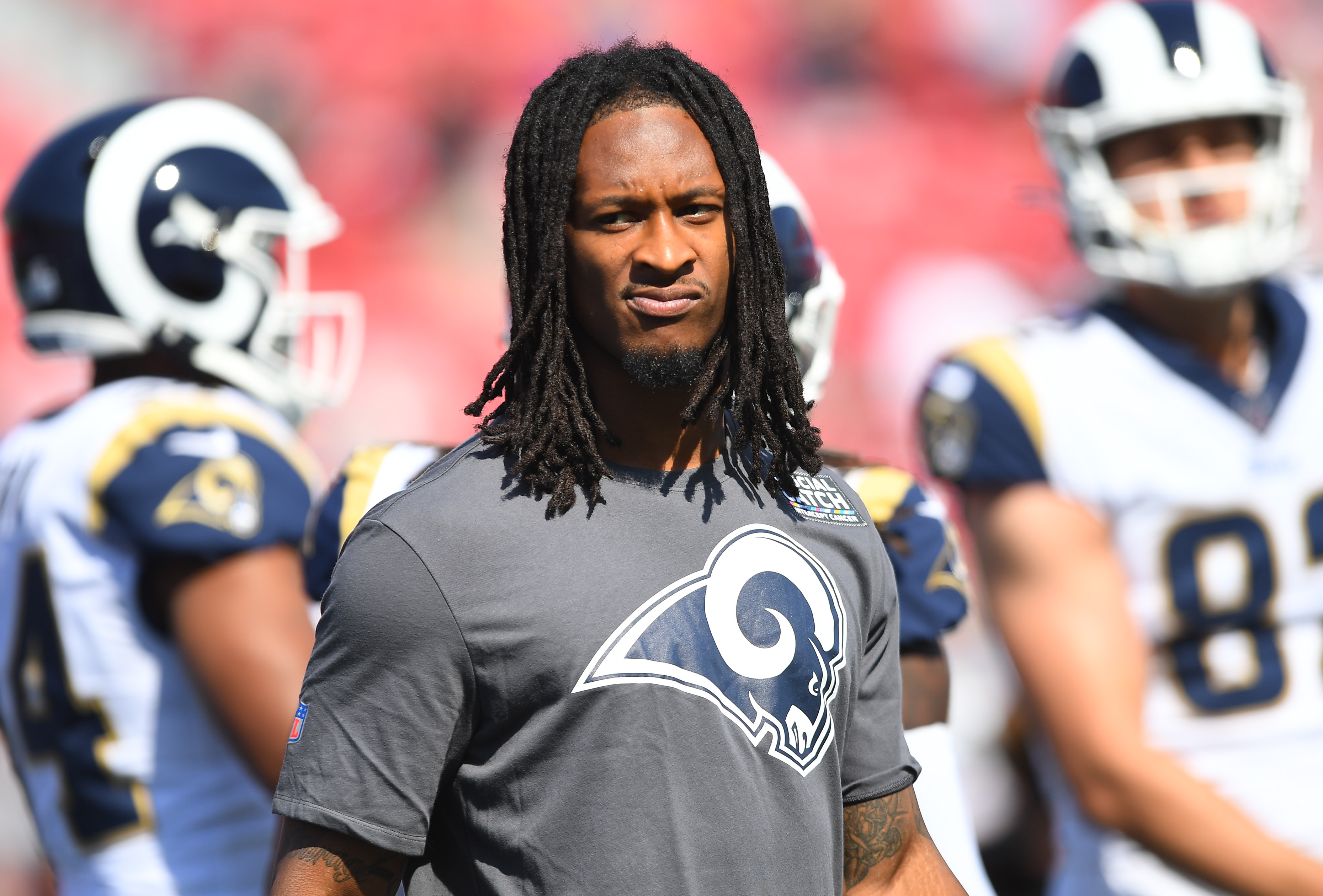 Los Angeles Rams RB Todd Gurley during warmups prior to a Week 6 game against the San Francisco 49ers, Oct. 13, 2019.
