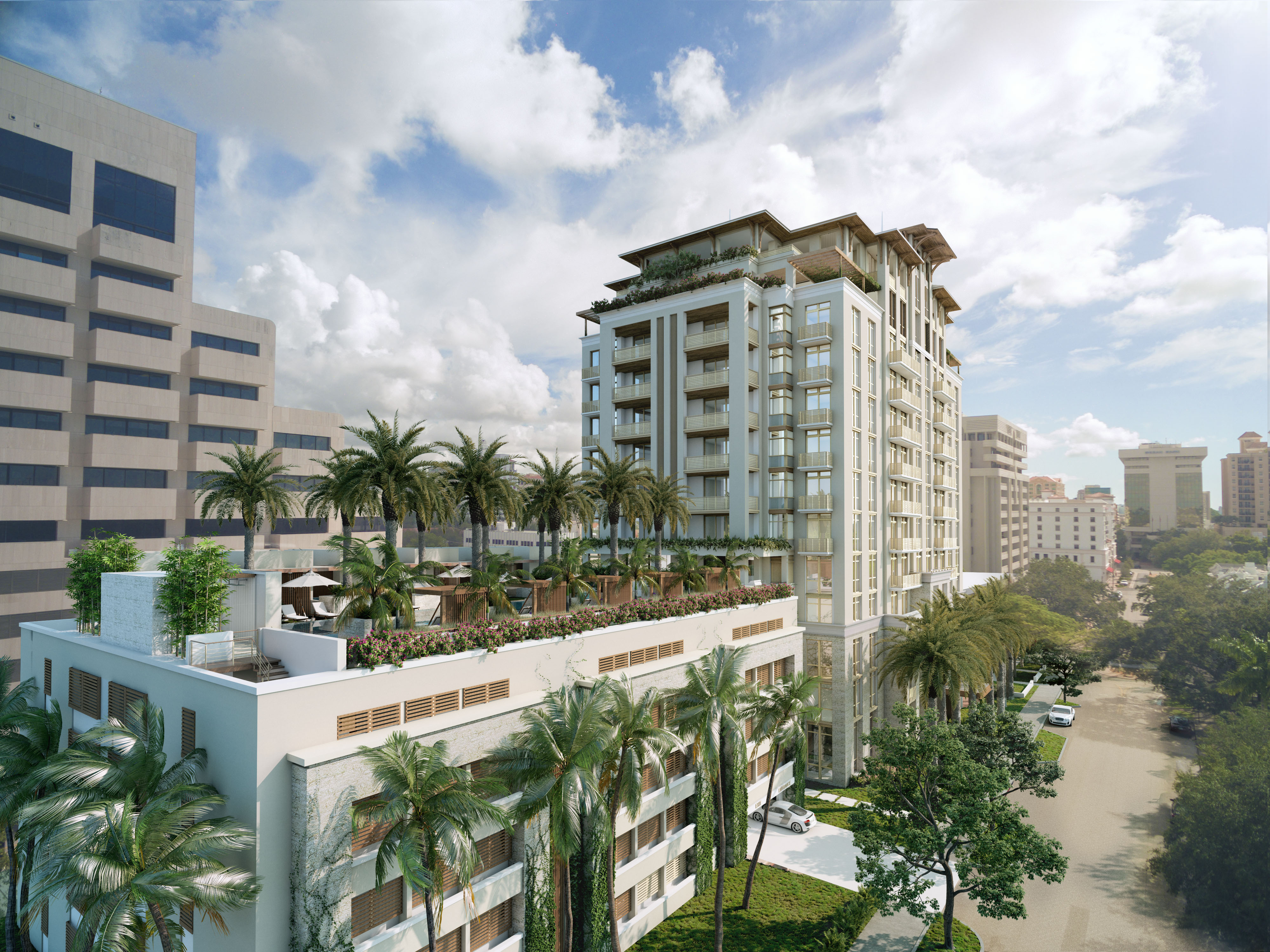 Computer graphic of a proposed high-end condo building with rooftop pool in the Miami area.