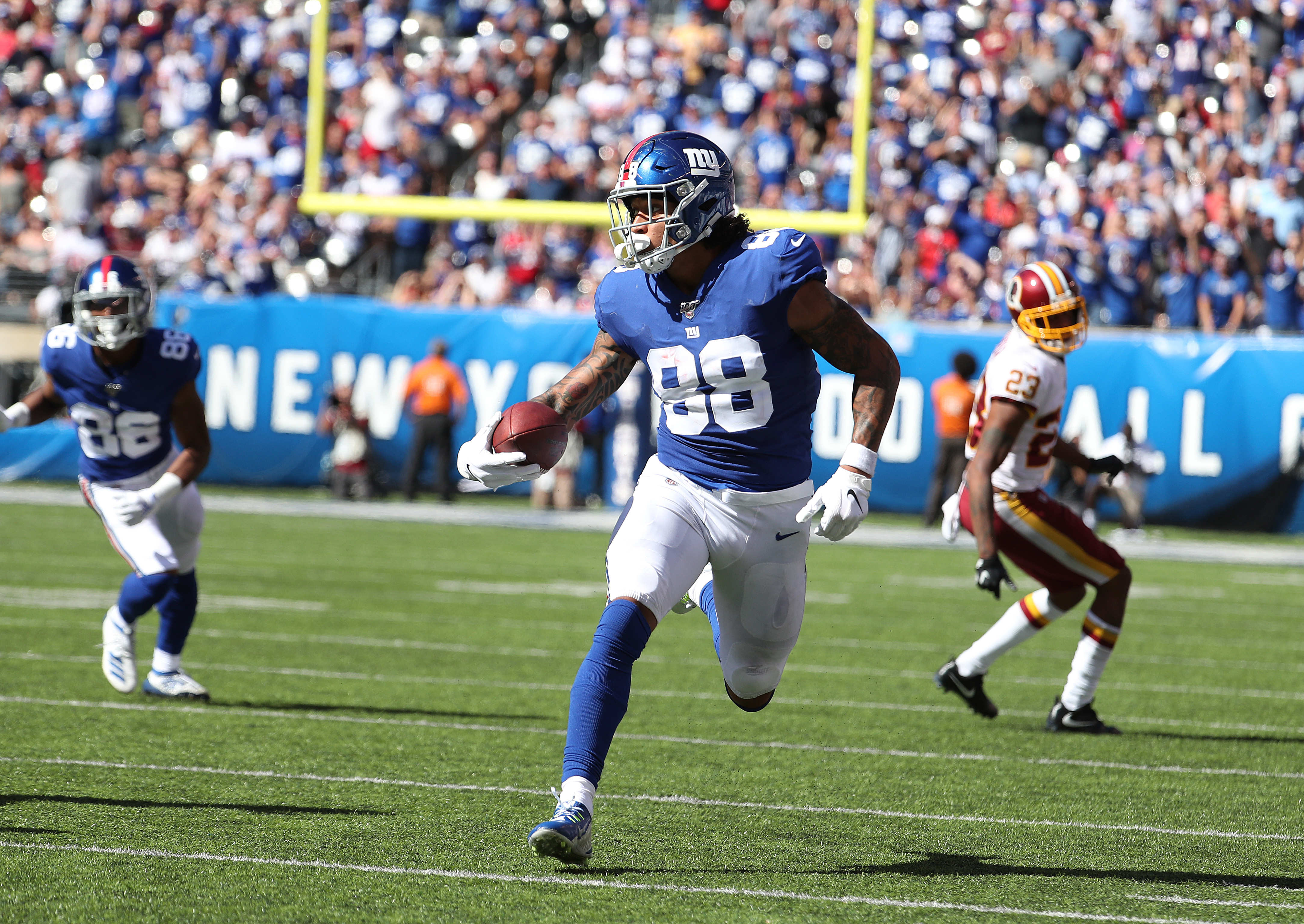 Evan Engram of the New York Giants in action against Washington during their game at MetLife Stadium on September 29, 2019 in East Rutherford, New Jersey.