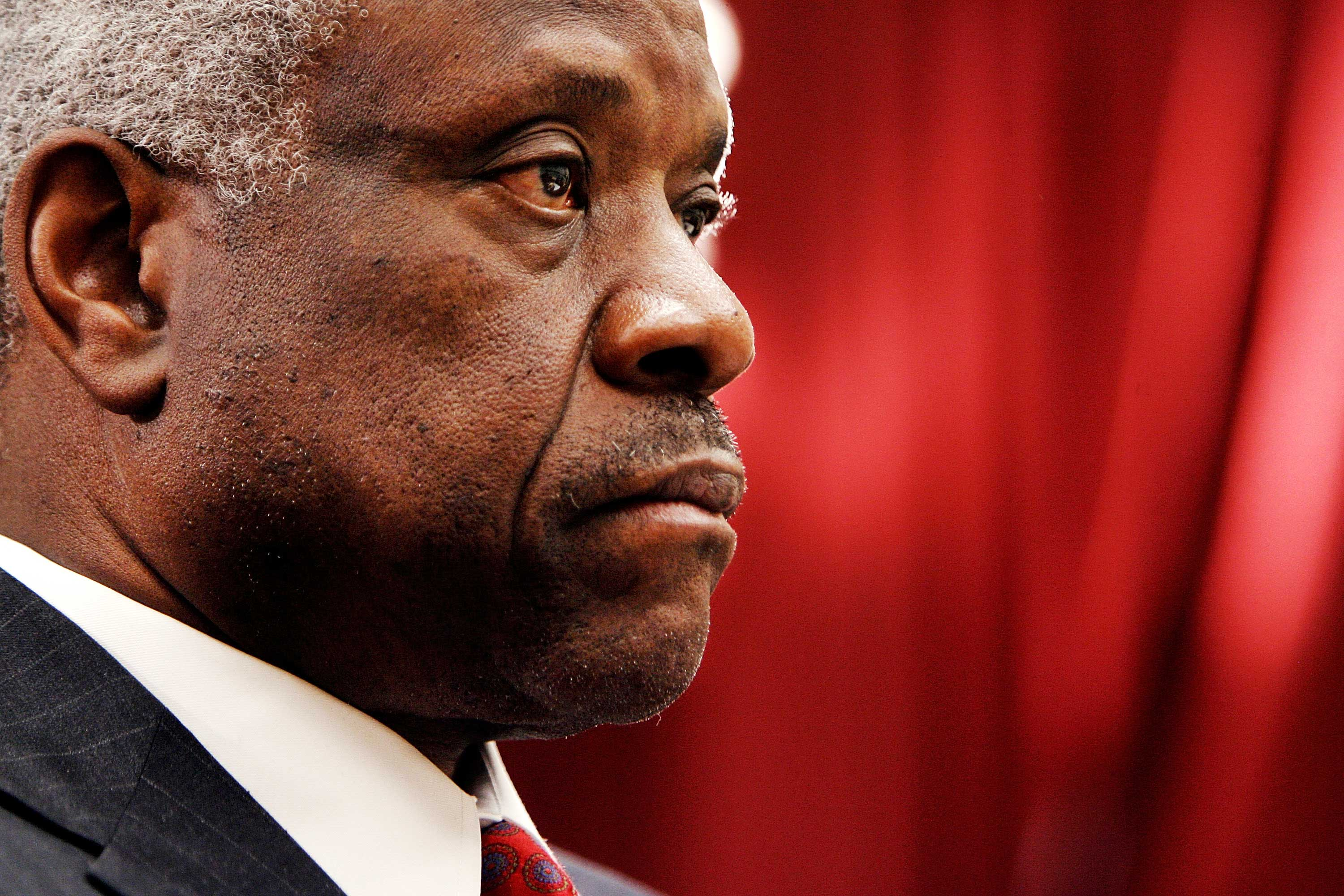 Supreme Court Justice Clarence Thomas testifies before the House Financial Services and General Government Subcommittee in Washington, DC on March 13, 2008.