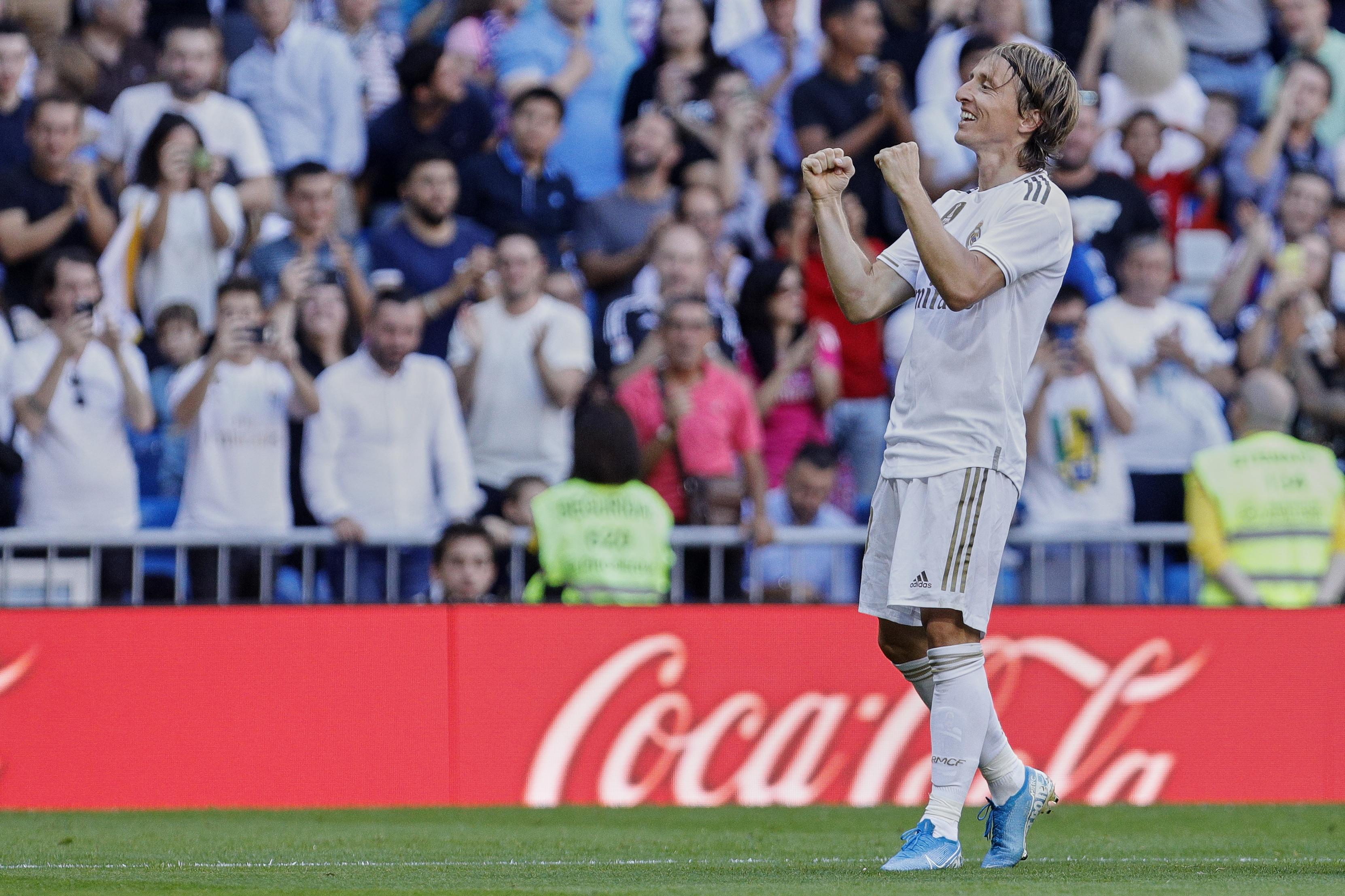 Luka Modric of Real Madrid celebrates a goal during the La...
