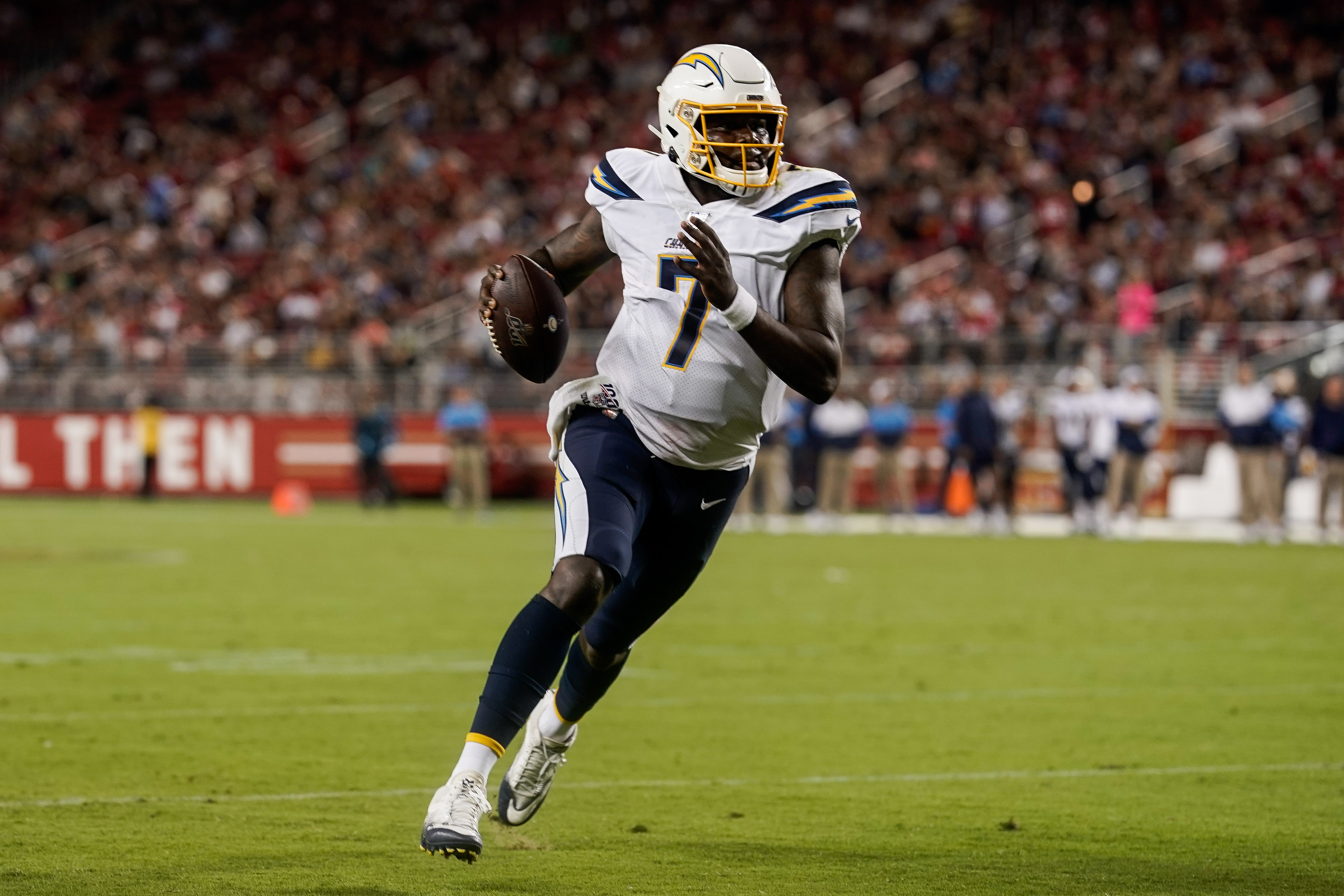 Los Angeles Chargers quarterback Cardale Jones runs for the end zone against the against the San Francisco 49ers during the second quarter at Levi's Stadium.