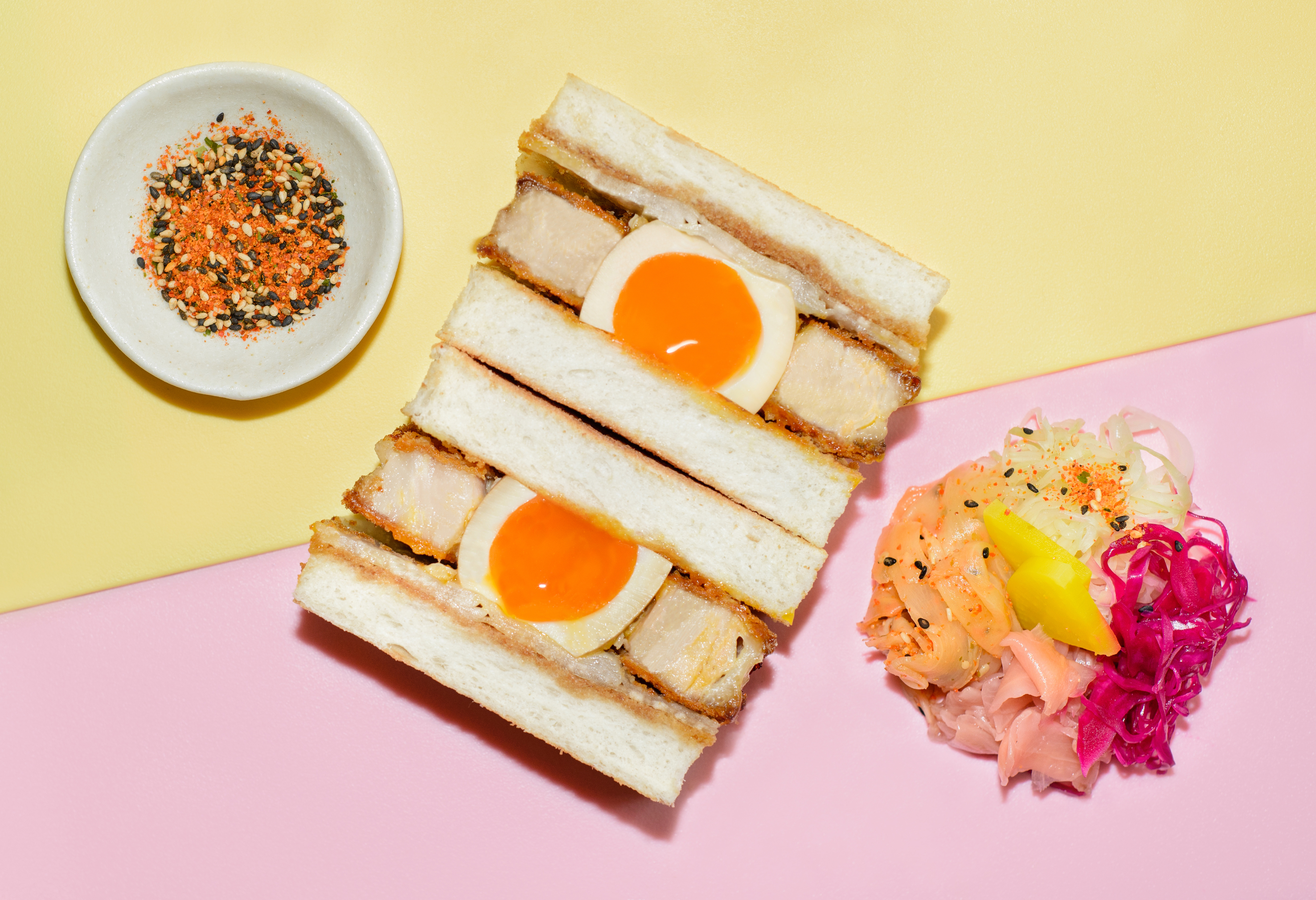Katsu sando with tofu and egg at Market Hall West End on Holles Street