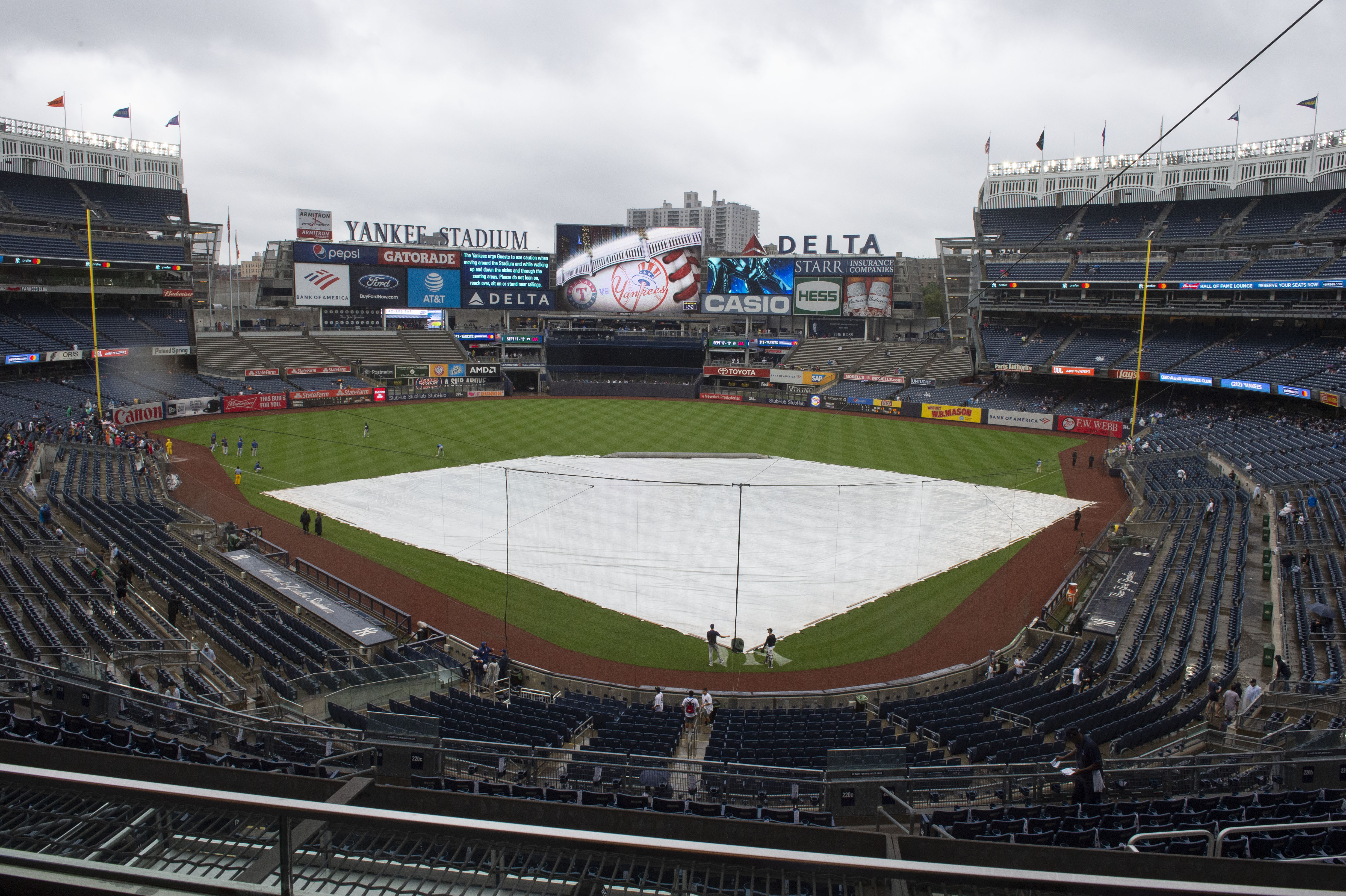 A general view of the field before the game between the Texas Rangers and the New York Yankees at Yankee Stadium.