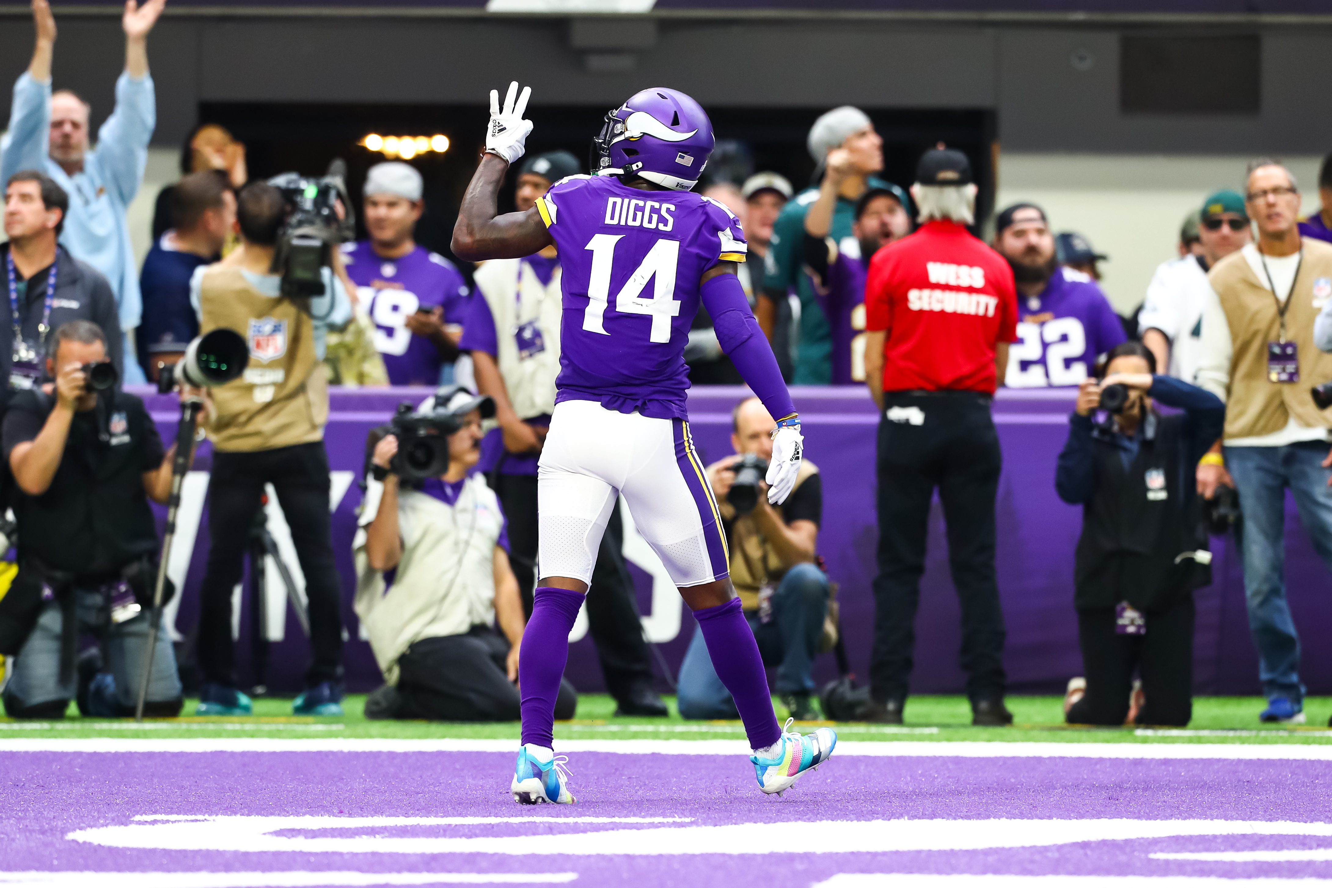 Minnesota Vikings wide receiver Stefon Diggs celebrates after catching a pass for a touchdown in the third quarter against the Philadelphia Eagles at U.S. Bank Stadium.
