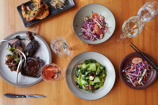 An array of dishes at The Slanted Door