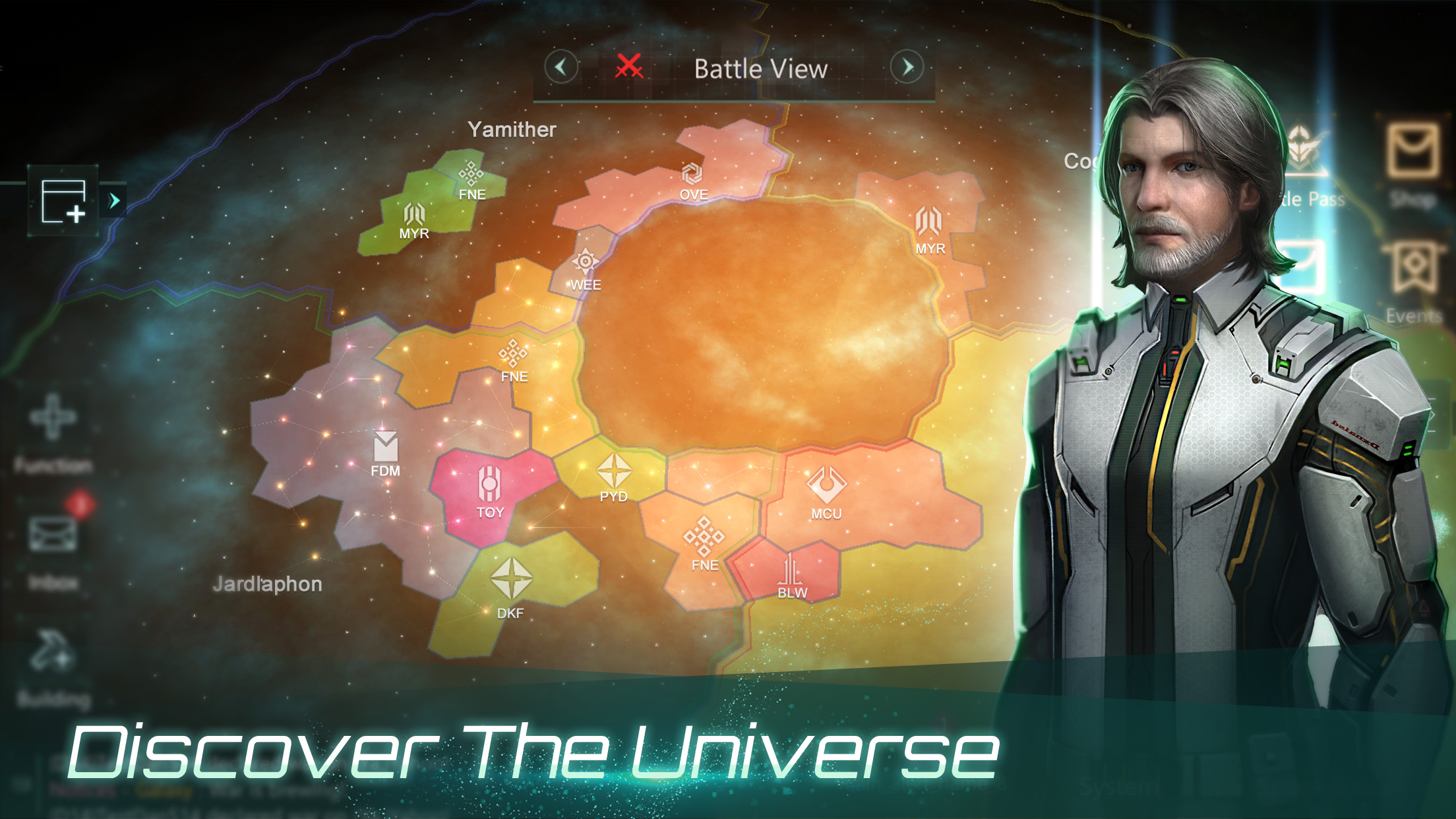 The world map screen from Stellaris: Galaxy Command, a new mobile title from Paradox.