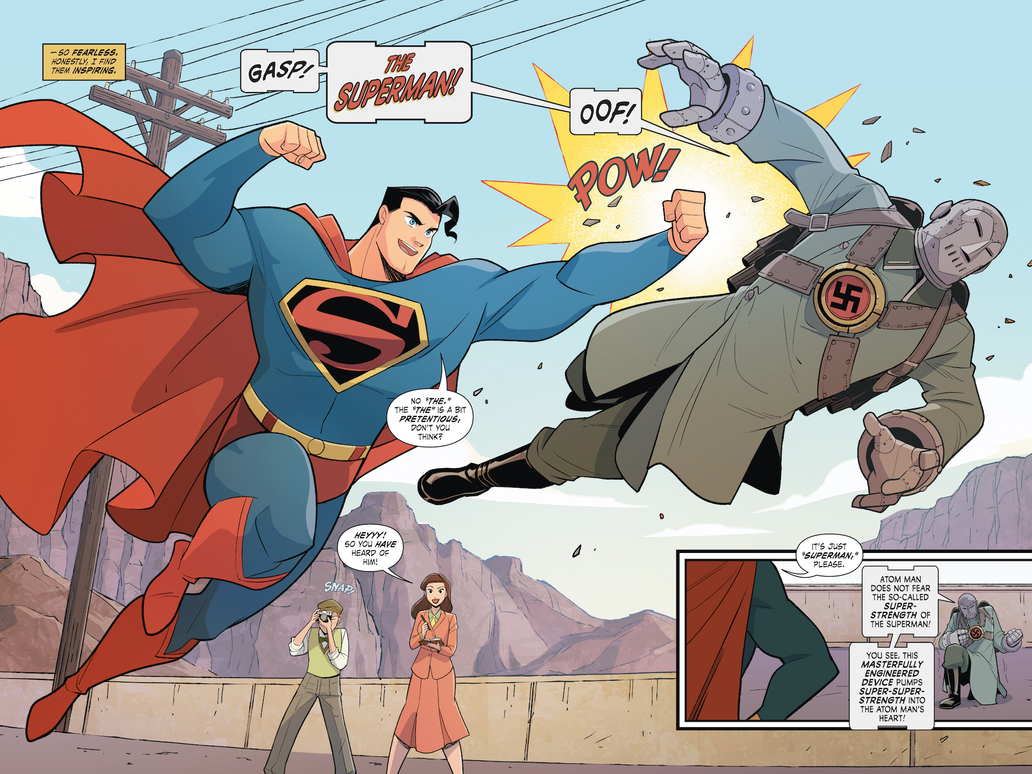 Superman punches the Atom Man, a neo-nazi terrorist, in Superman Smashes the Klan #1, DC Comics (2019).