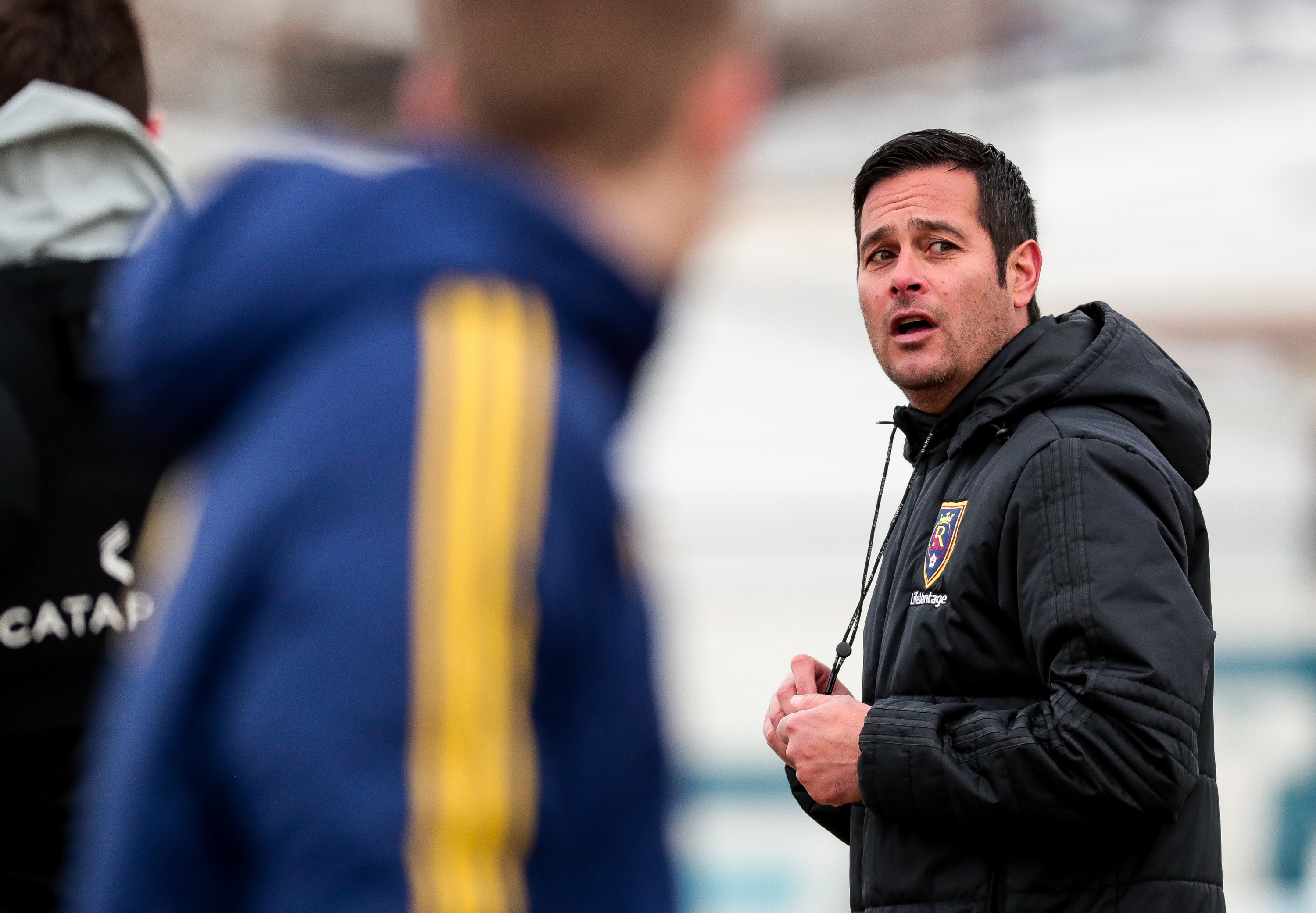 Head coach Mike Petke directs players during a Real Salt Lake practice at America First Field in Sandy on Thursday, Feb. 28, 2019. RSL hosts Vancouver in its home opener on Saturday at Rio Tinto Stadium.