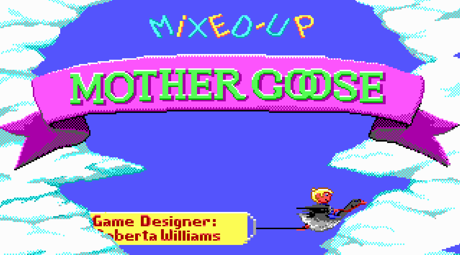 The title screen from Mixed Up Mother Goose, featuring a child riding a flying goose