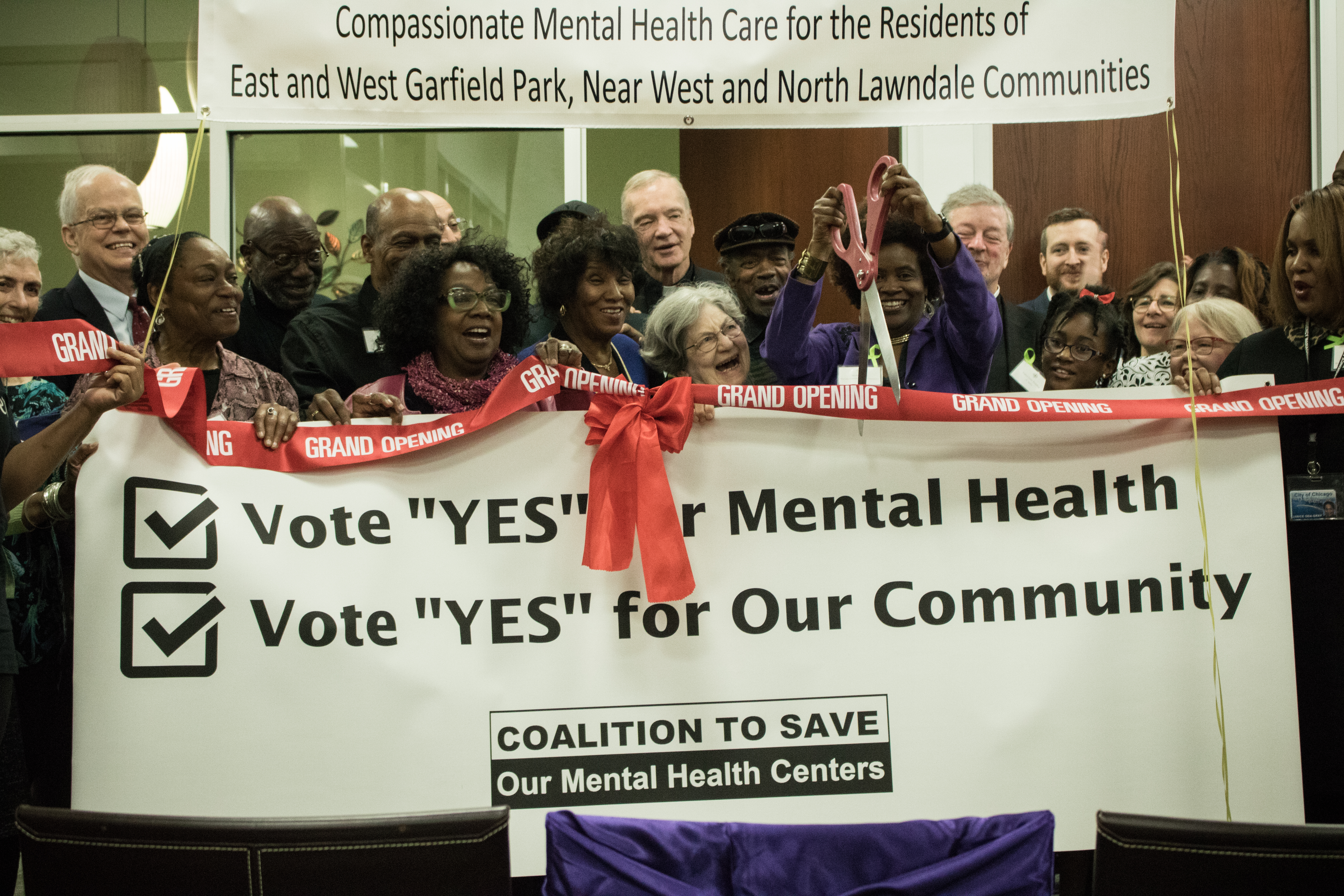 Community organizers celebrate the grand opening of a new mental health clinic on the West Side.