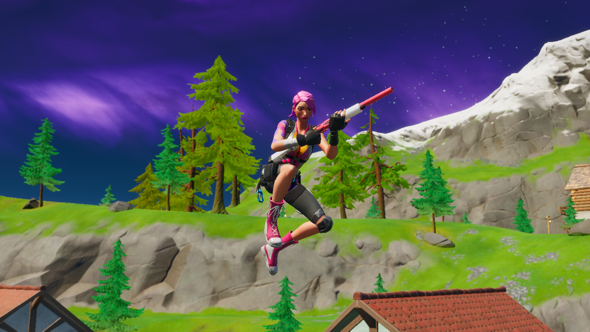 A Fortnite player jumping with a shotgun from Chapter 2