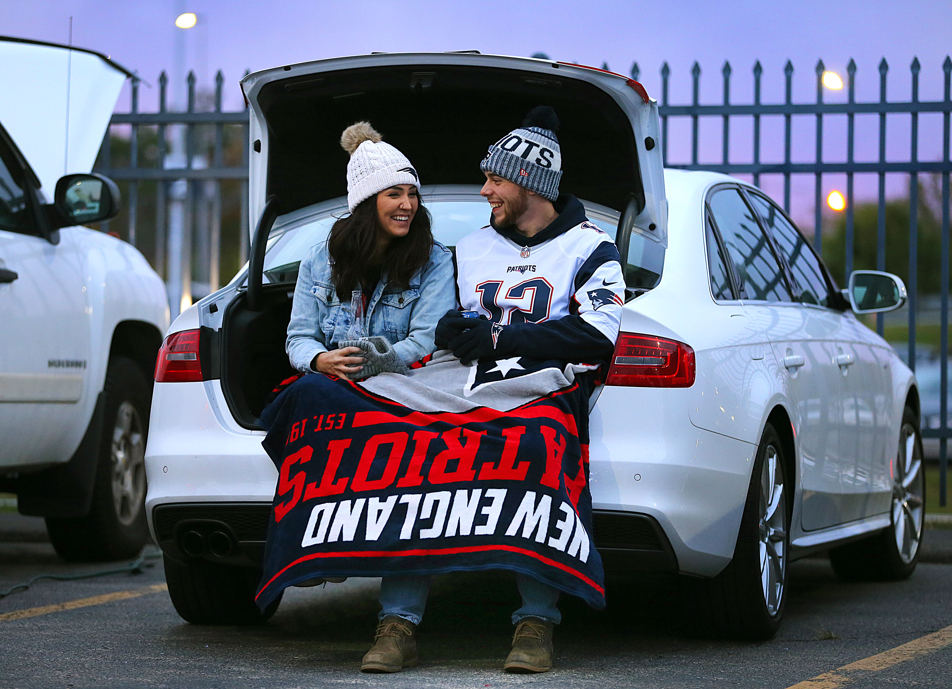 New England Patriots Fans Tailgate at Gillete Stadium