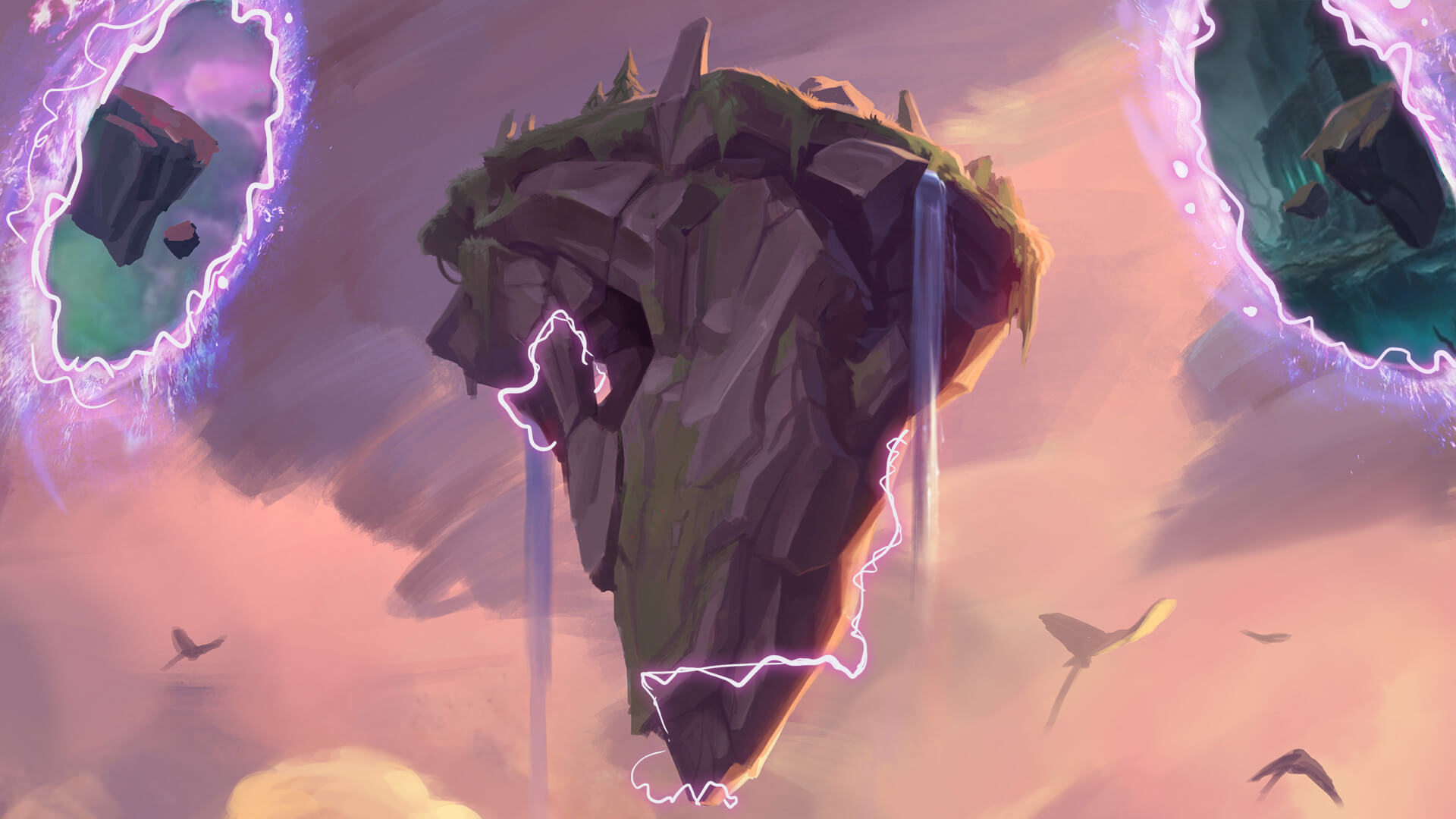 A floating rock with two portals on the side. Key art for Teamfight Tactics